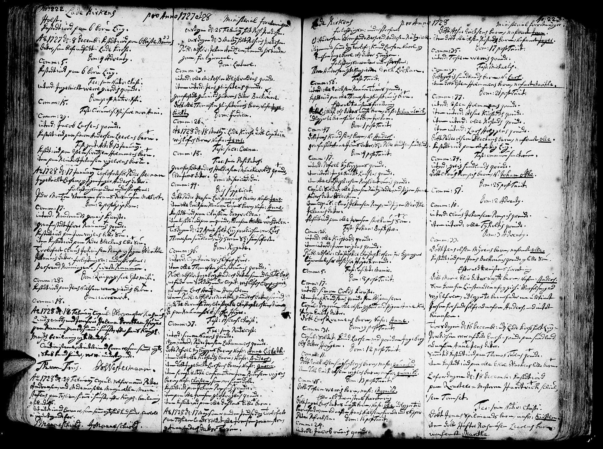 SAT, Ministerialprotokoller, klokkerbøker og fødselsregistre - Sør-Trøndelag, 606/L0275: Ministerialbok nr. 606A01 /1, 1727-1780, s. 222-223