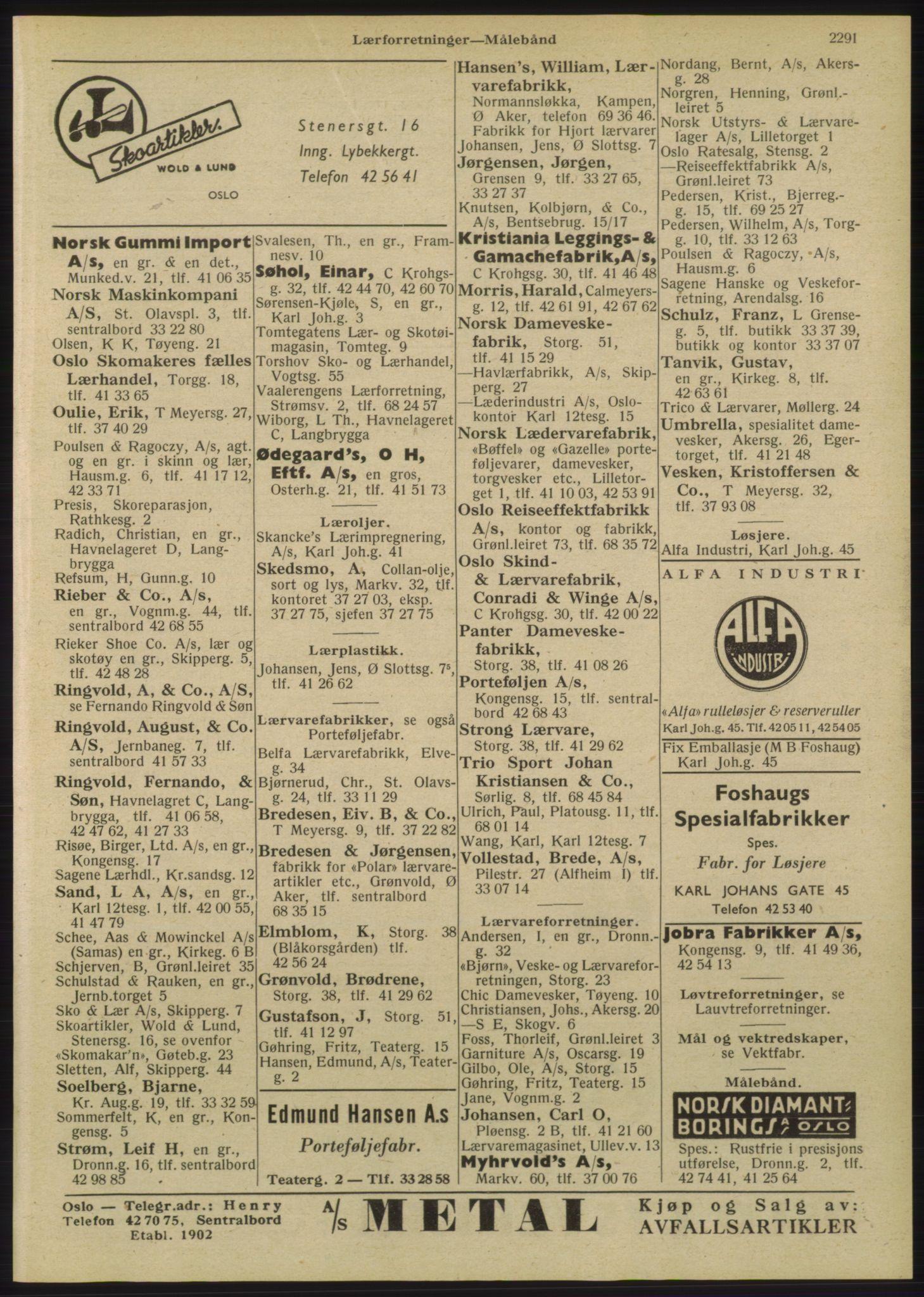 RA, Oslo adressebok (publikasjon)*, 1947, s. 2291
