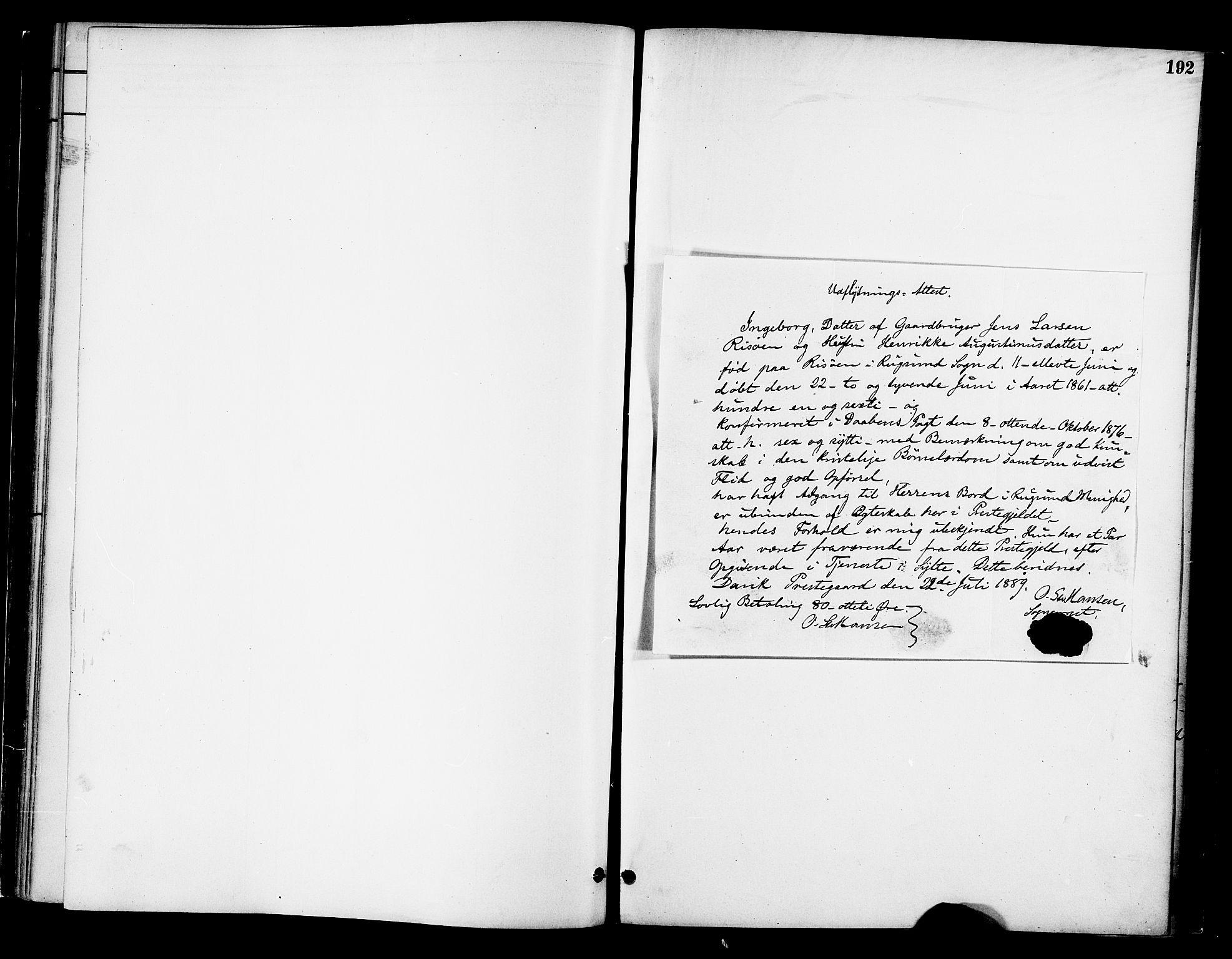 SAT, Ministerialprotokoller, klokkerbøker og fødselsregistre - Møre og Romsdal, 519/L0255: Ministerialbok nr. 519A14, 1884-1908, s. 192