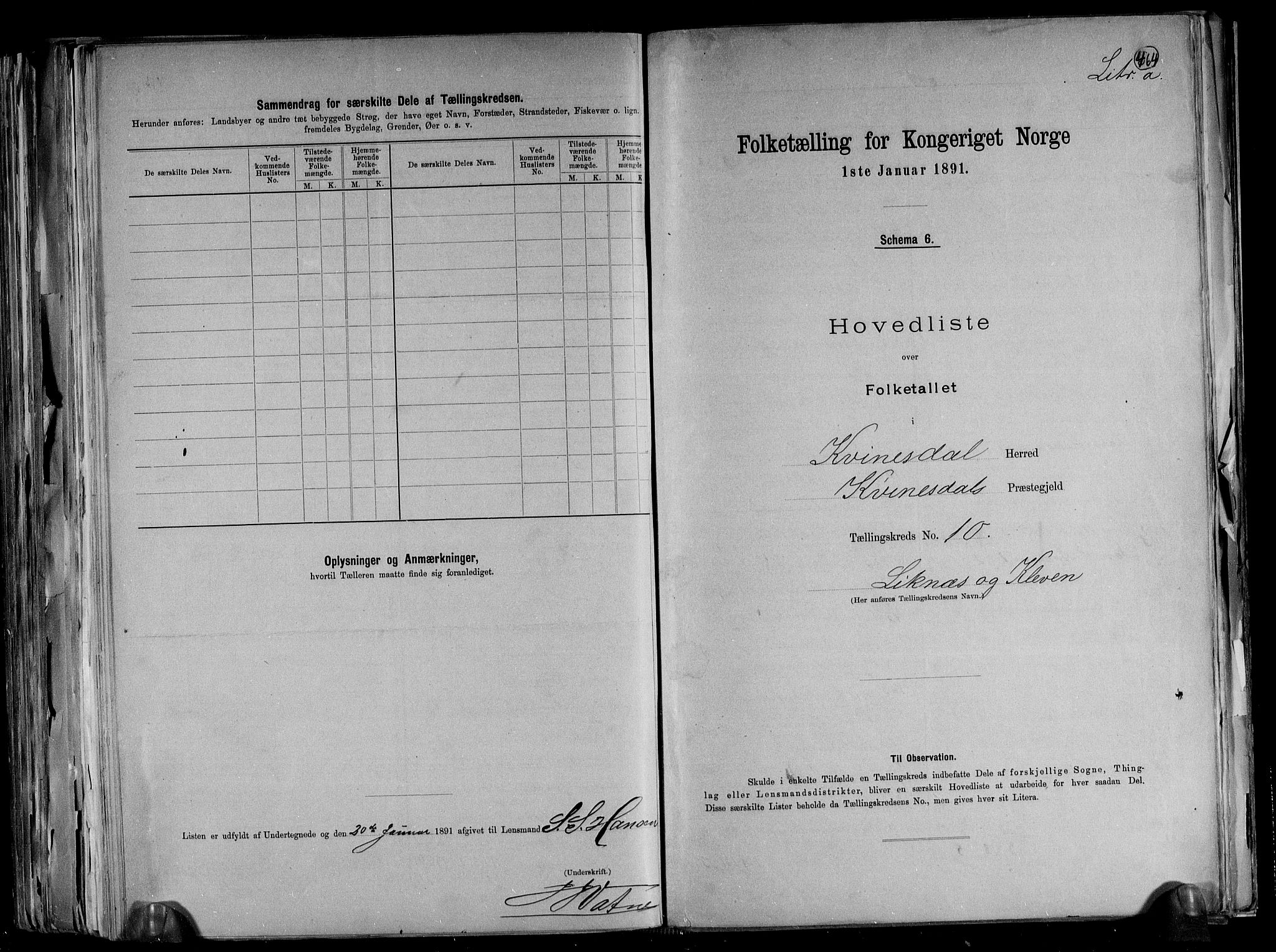 RA, Folketelling 1891 for 1037 Kvinesdal herred, 1891, s. 26