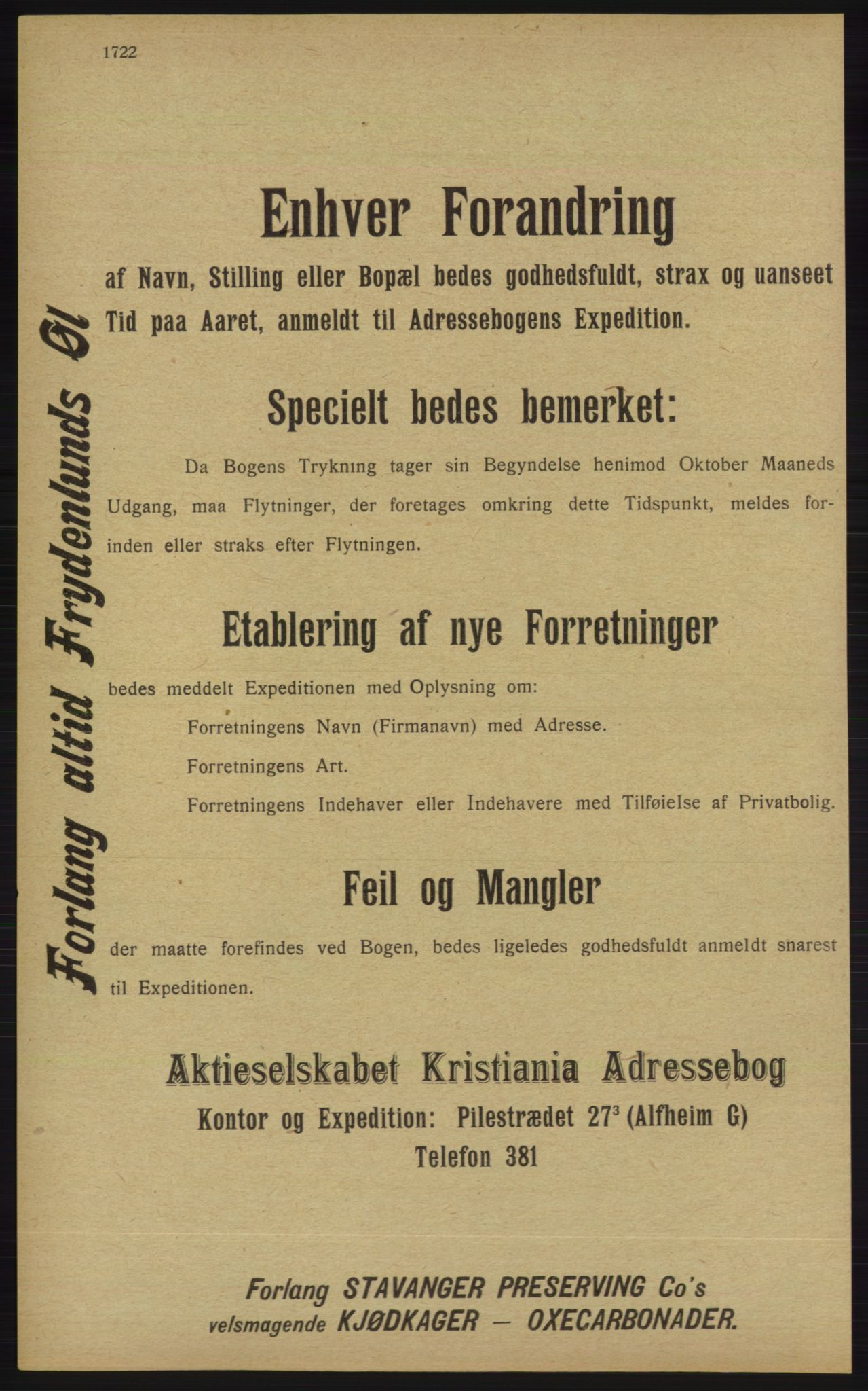 RA, Kristiania adressebok (publikasjon)*, 1913, s. 1722
