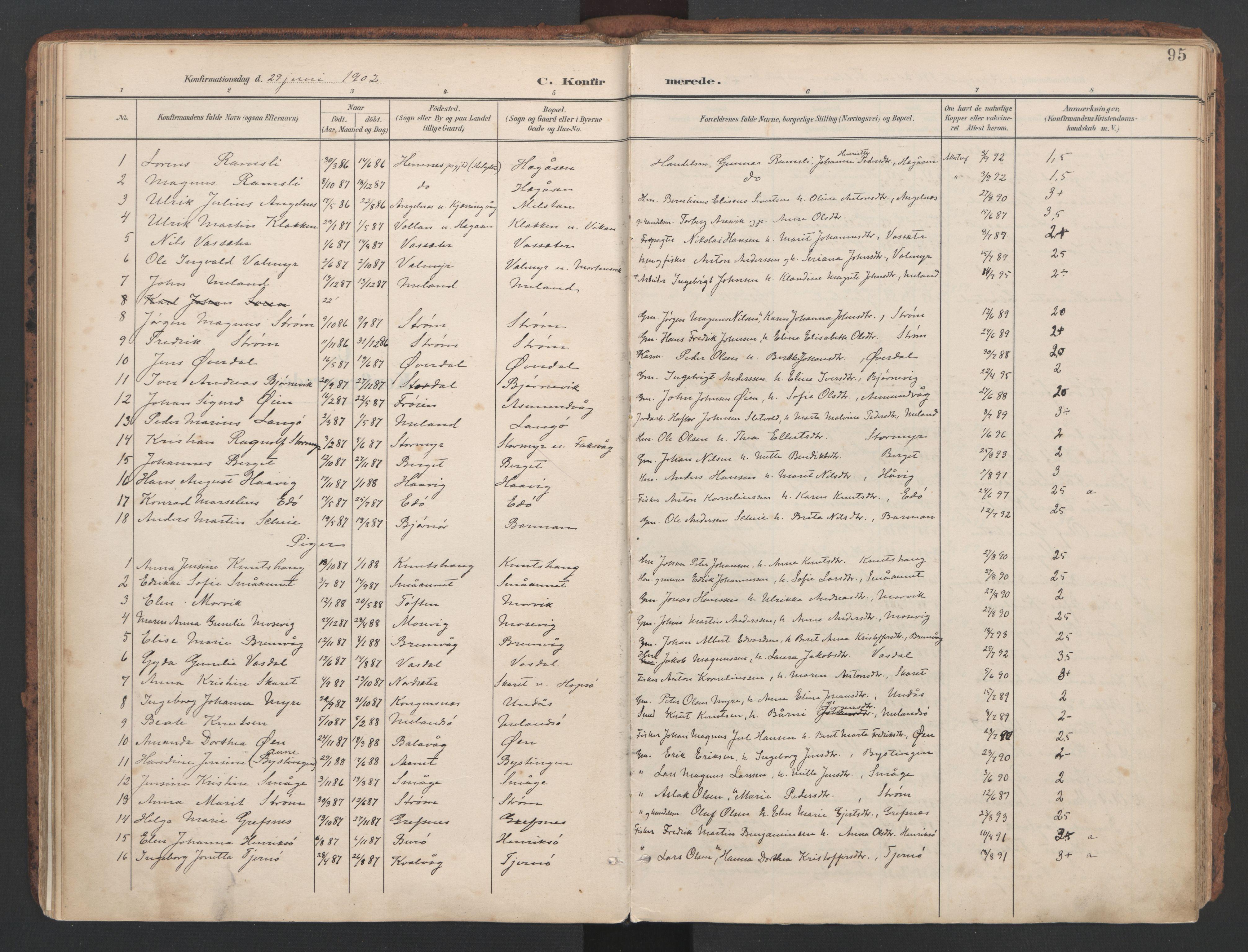 SAT, Ministerialprotokoller, klokkerbøker og fødselsregistre - Sør-Trøndelag, 634/L0537: Ministerialbok nr. 634A13, 1896-1922, s. 95