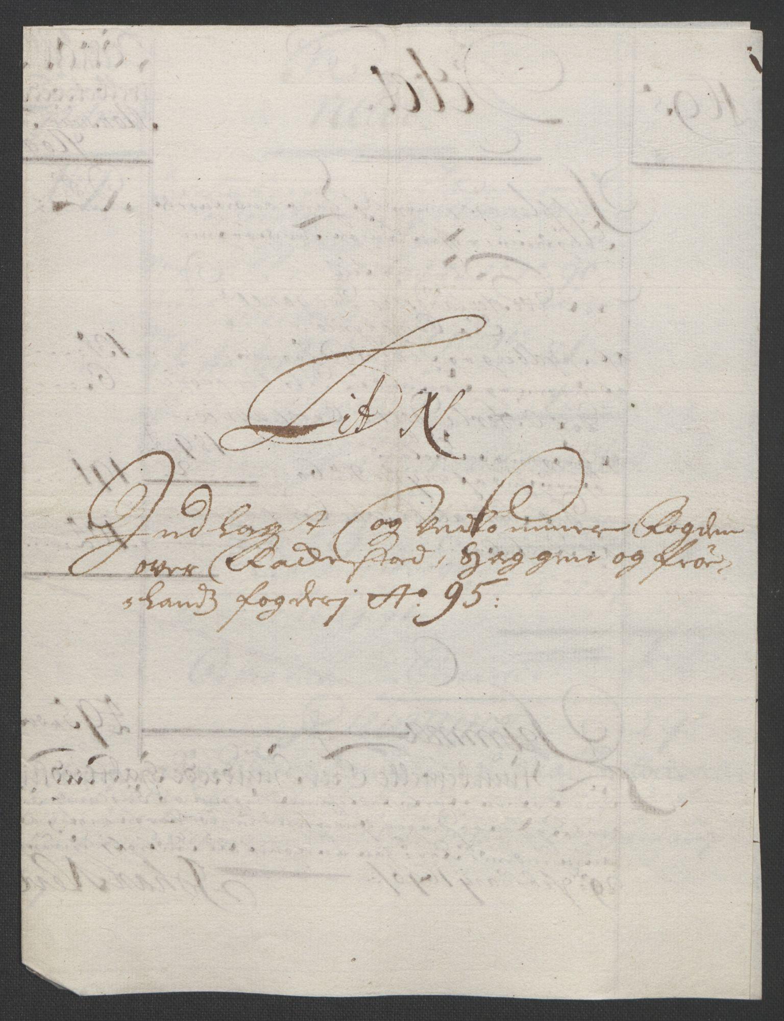 RA, Rentekammeret inntil 1814, Reviderte regnskaper, Fogderegnskap, R07/L0285: Fogderegnskap Rakkestad, Heggen og Frøland, 1695, s. 299