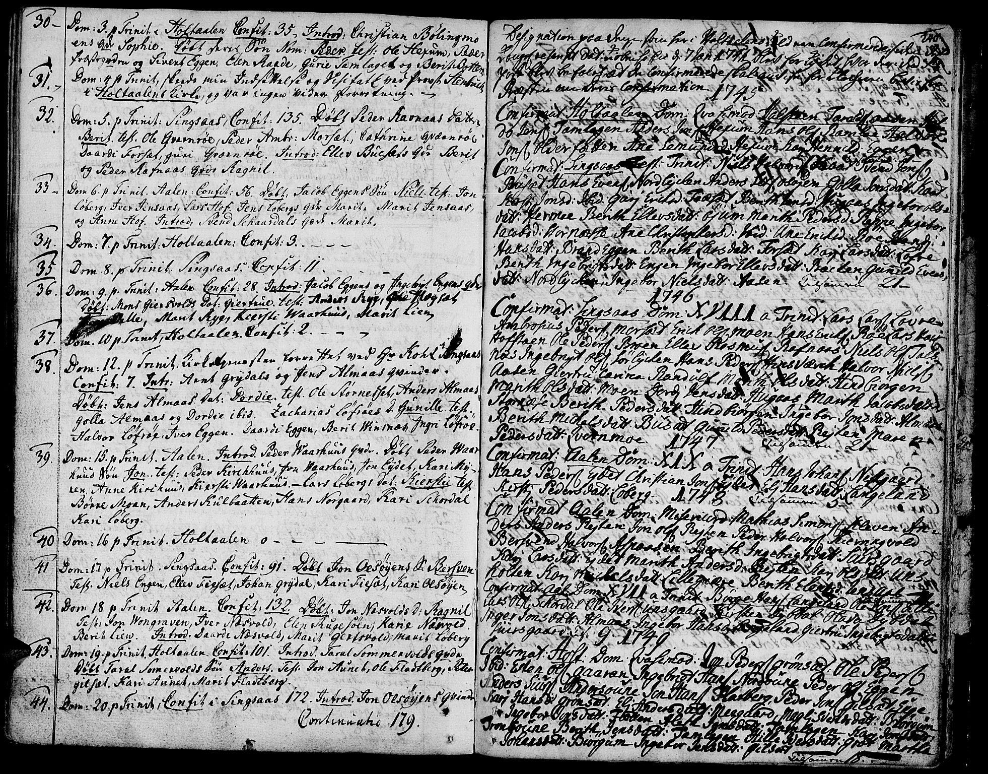 SAT, Ministerialprotokoller, klokkerbøker og fødselsregistre - Sør-Trøndelag, 685/L0952: Ministerialbok nr. 685A01, 1745-1804, s. 240