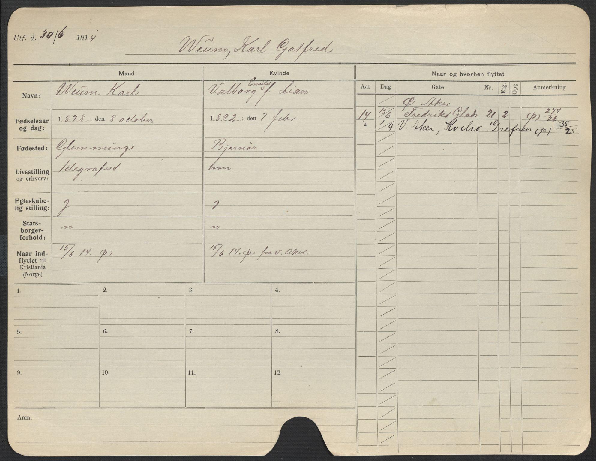 SAO, Oslo folkeregister, Registerkort, F/Fa/Fac/L0011: Menn, 1906-1914, s. 776a