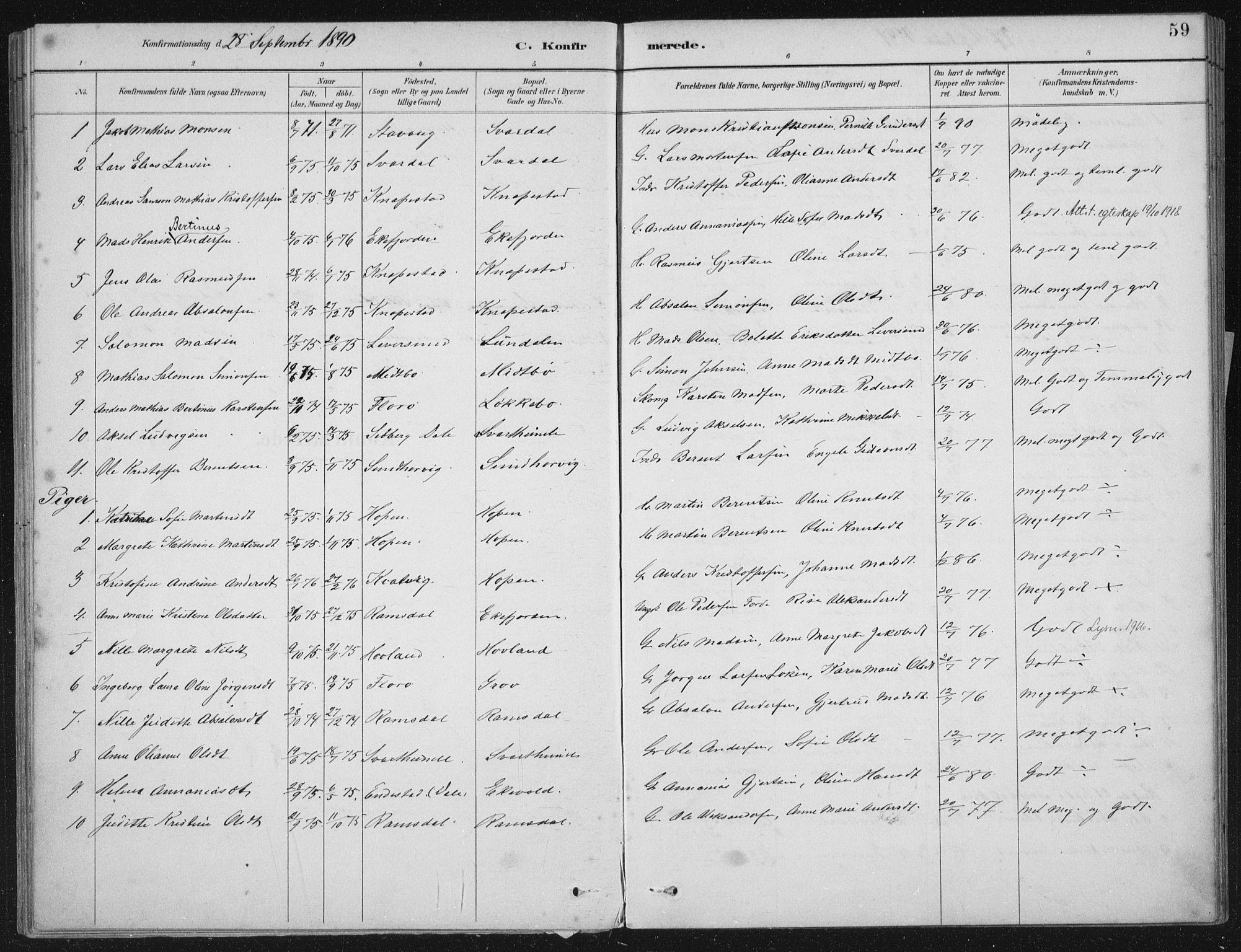 SAB, Kinn sokneprestembete, H/Haa/Haae/L0001: Ministerialbok nr. E 1, 1890-1916, s. 59