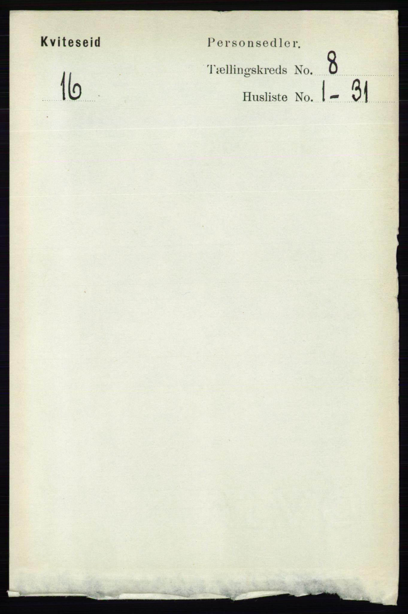 RA, Folketelling 1891 for 0829 Kviteseid herred, 1891, s. 1603
