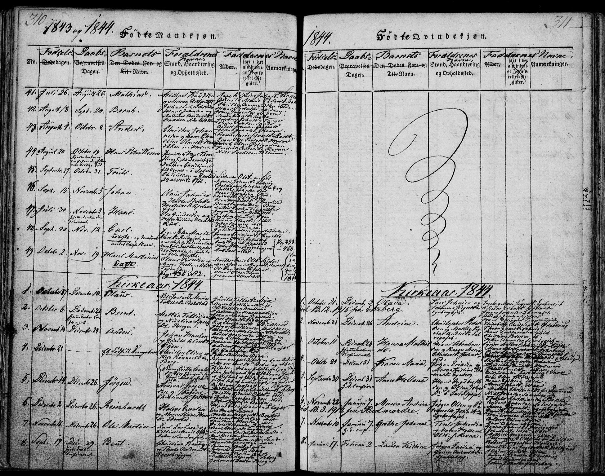 SAKO, Sande Kirkebøker, F/Fa/L0003: Ministerialbok nr. 3, 1814-1847, s. 310-311