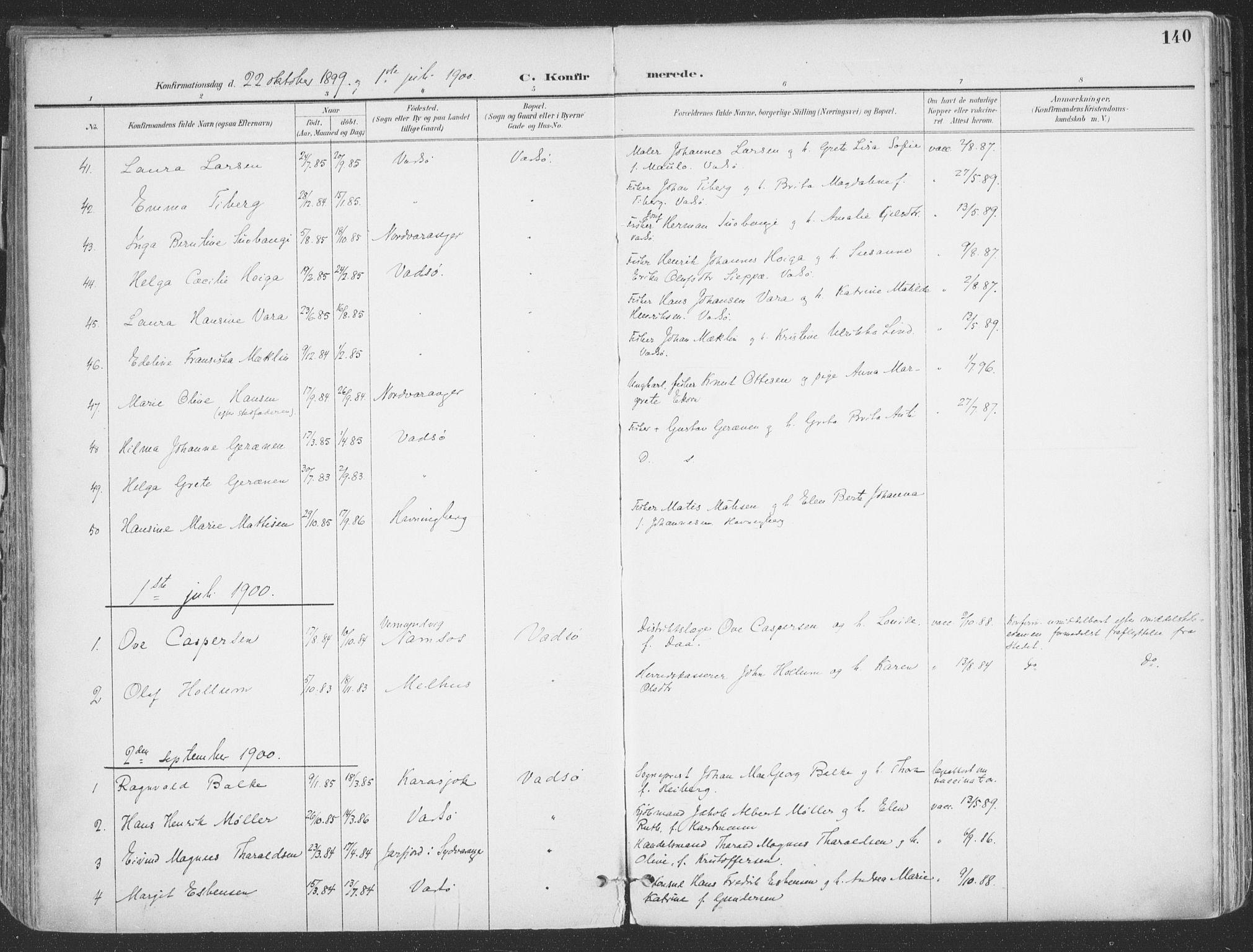 SATØ, Vadsø sokneprestkontor, H/Ha/L0007kirke: Ministerialbok nr. 7, 1896-1916, s. 140