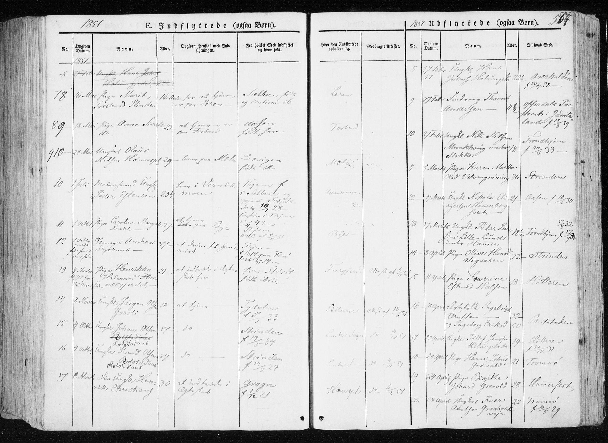 SAT, Ministerialprotokoller, klokkerbøker og fødselsregistre - Nord-Trøndelag, 709/L0074: Ministerialbok nr. 709A14, 1845-1858, s. 557