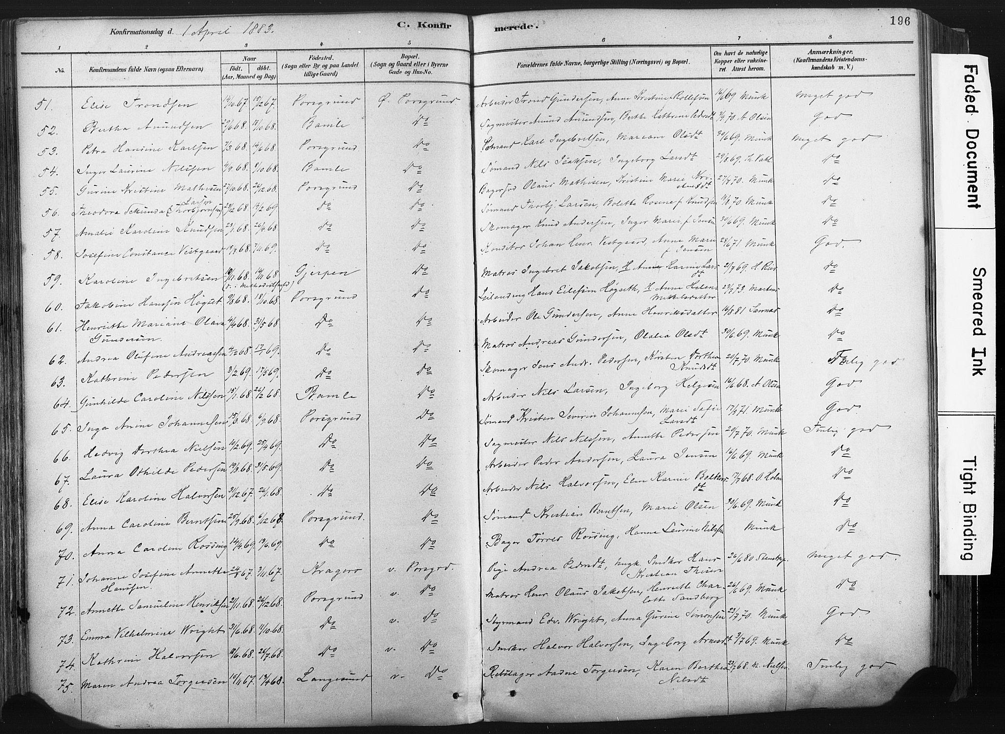 SAKO, Porsgrunn kirkebøker , F/Fa/L0008: Ministerialbok nr. 8, 1878-1895, s. 196