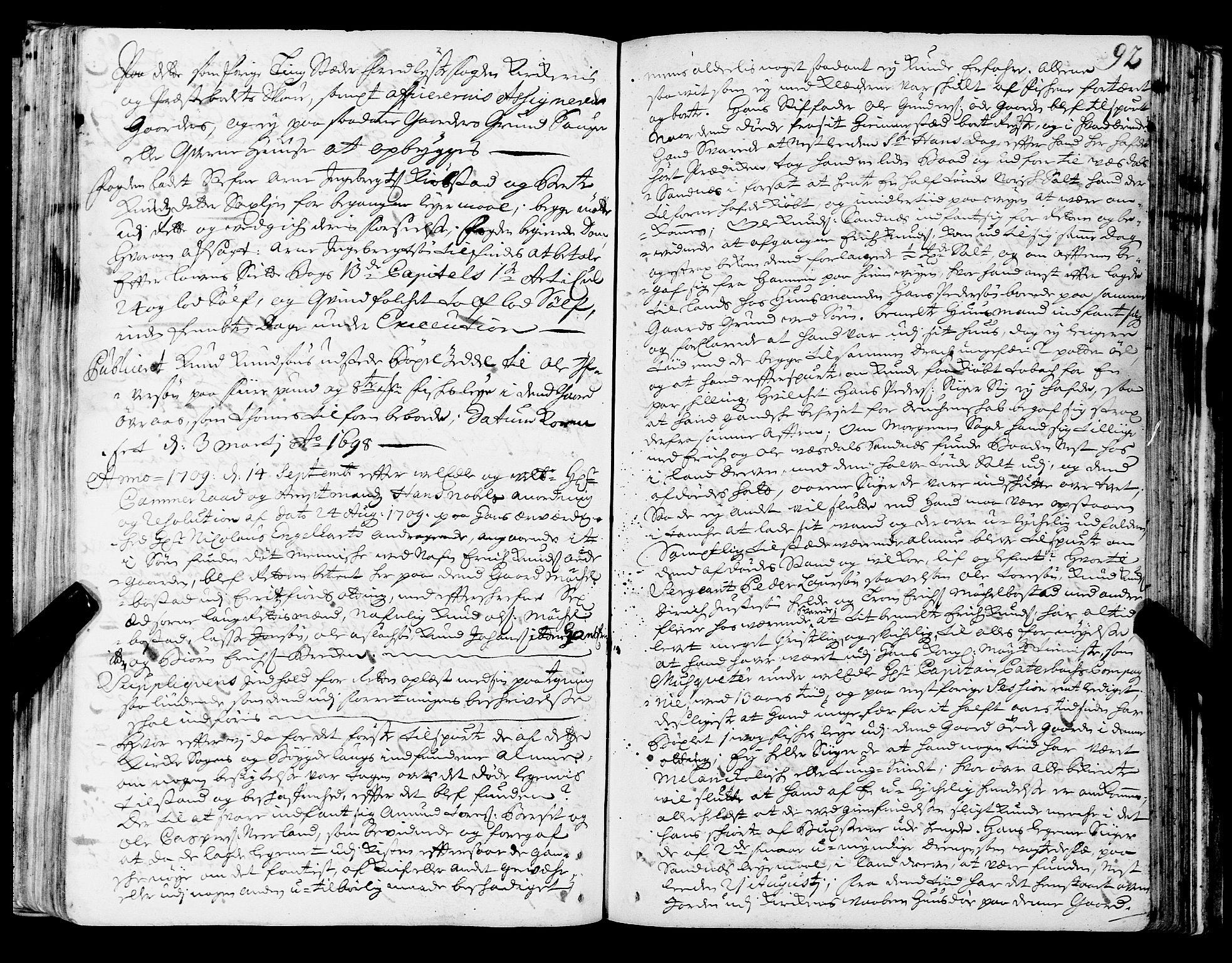 SAT, Romsdal sorenskriveri, 1/1A/L0006: Tingbok, 1707-1711, s. 91b-92a