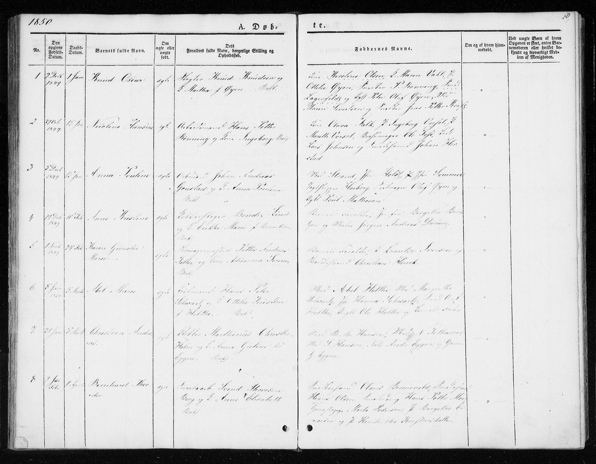 SAT, Ministerialprotokoller, klokkerbøker og fødselsregistre - Sør-Trøndelag, 604/L0183: Ministerialbok nr. 604A04, 1841-1850, s. 50