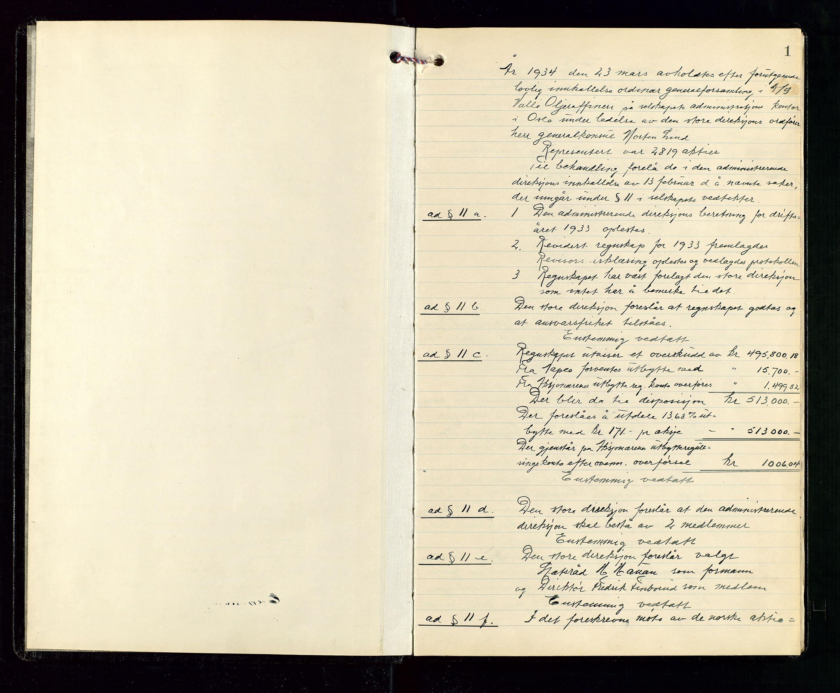 SAST, Pa 1536 - Esso Norge as, Vallø Oljeraffineri og lager, A/Aa/L0001: Generalforsamlinger og bilag til generalforsamlinger, 1934-1950, s. 1