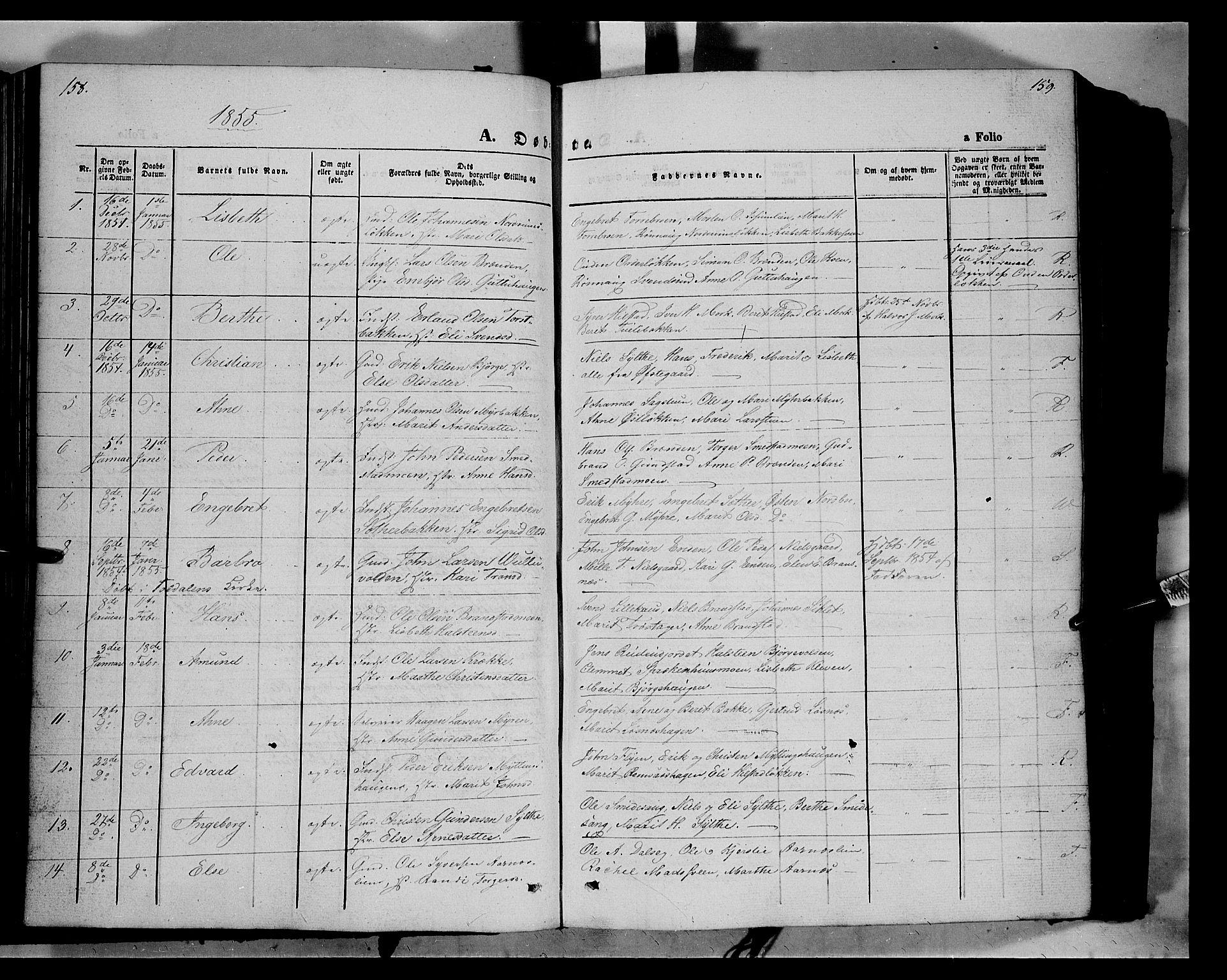 SAH, Ringebu prestekontor, Ministerialbok nr. 6, 1848-1859, s. 158-159