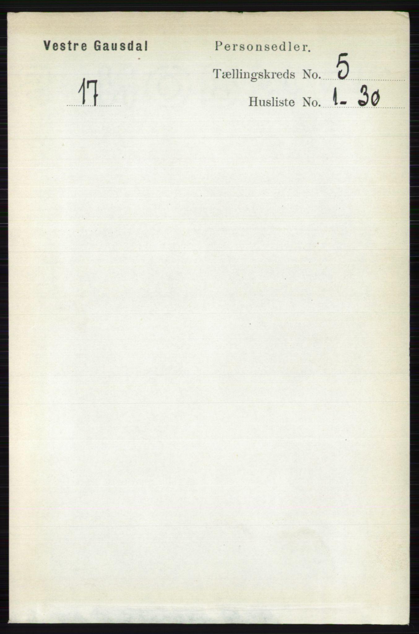 RA, Folketelling 1891 for 0523 Vestre Gausdal herred, 1891, s. 2172
