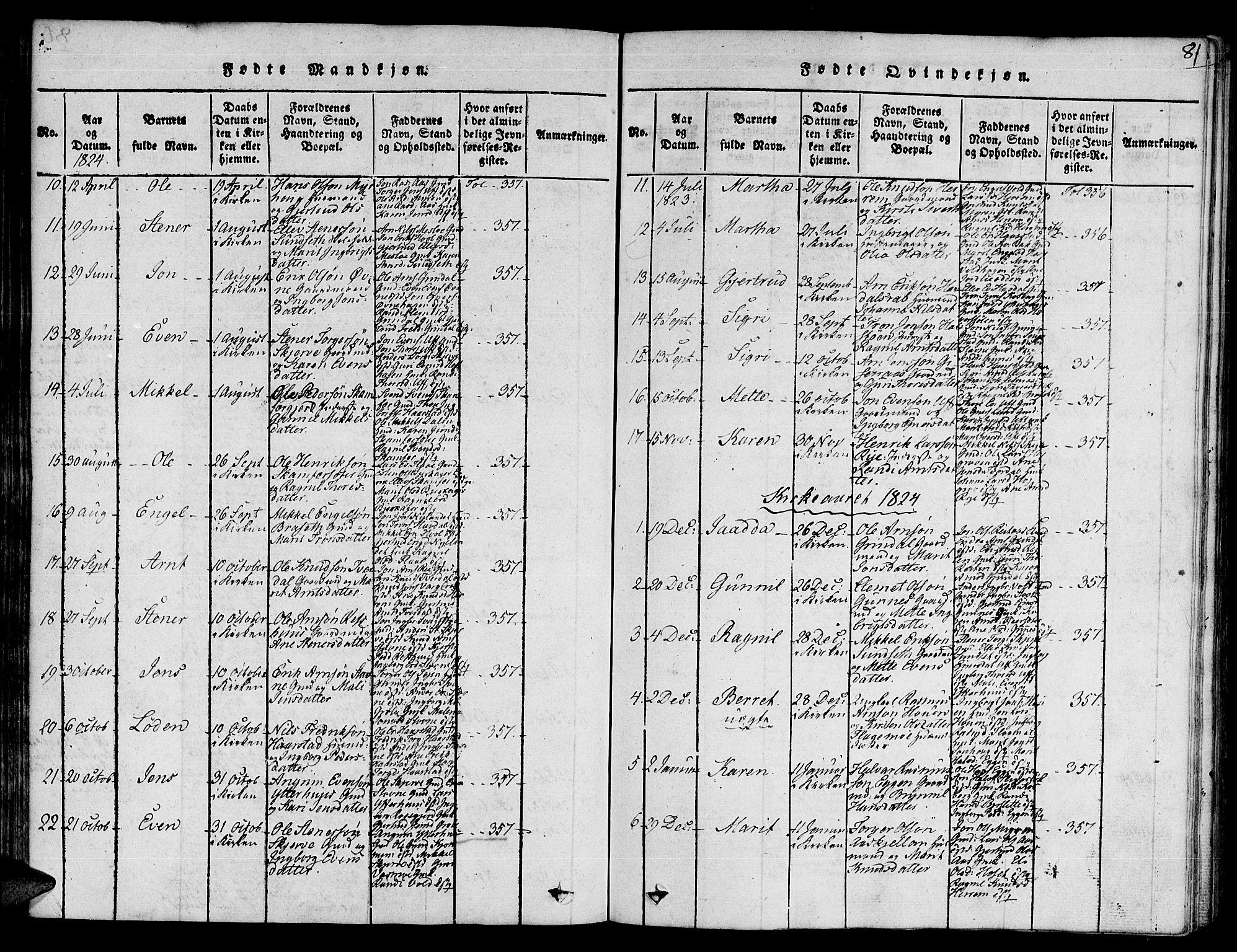 SAT, Ministerialprotokoller, klokkerbøker og fødselsregistre - Sør-Trøndelag, 672/L0854: Ministerialbok nr. 672A06 /2, 1816-1829, s. 81
