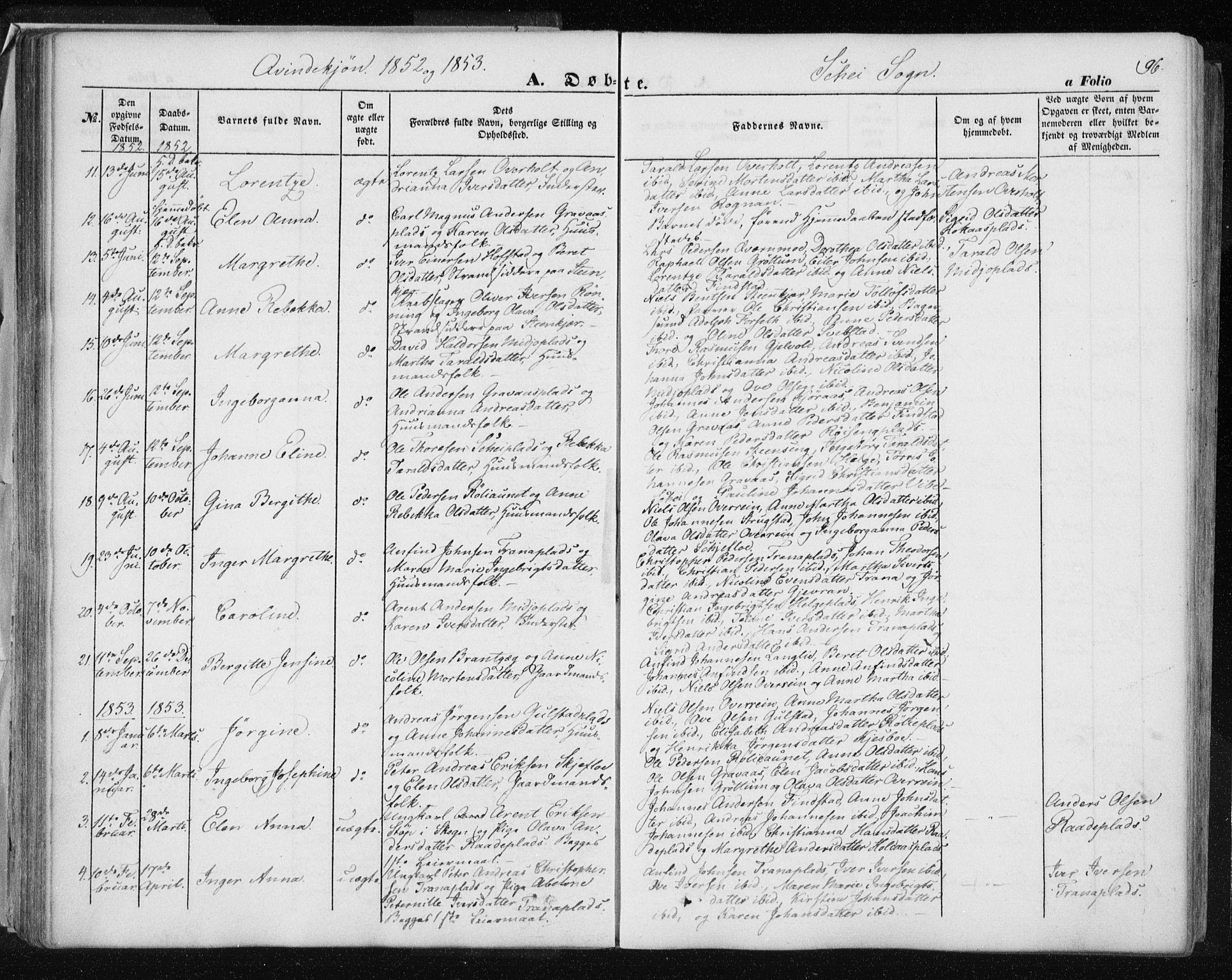 SAT, Ministerialprotokoller, klokkerbøker og fødselsregistre - Nord-Trøndelag, 735/L0342: Ministerialbok nr. 735A07 /2, 1849-1862, s. 96