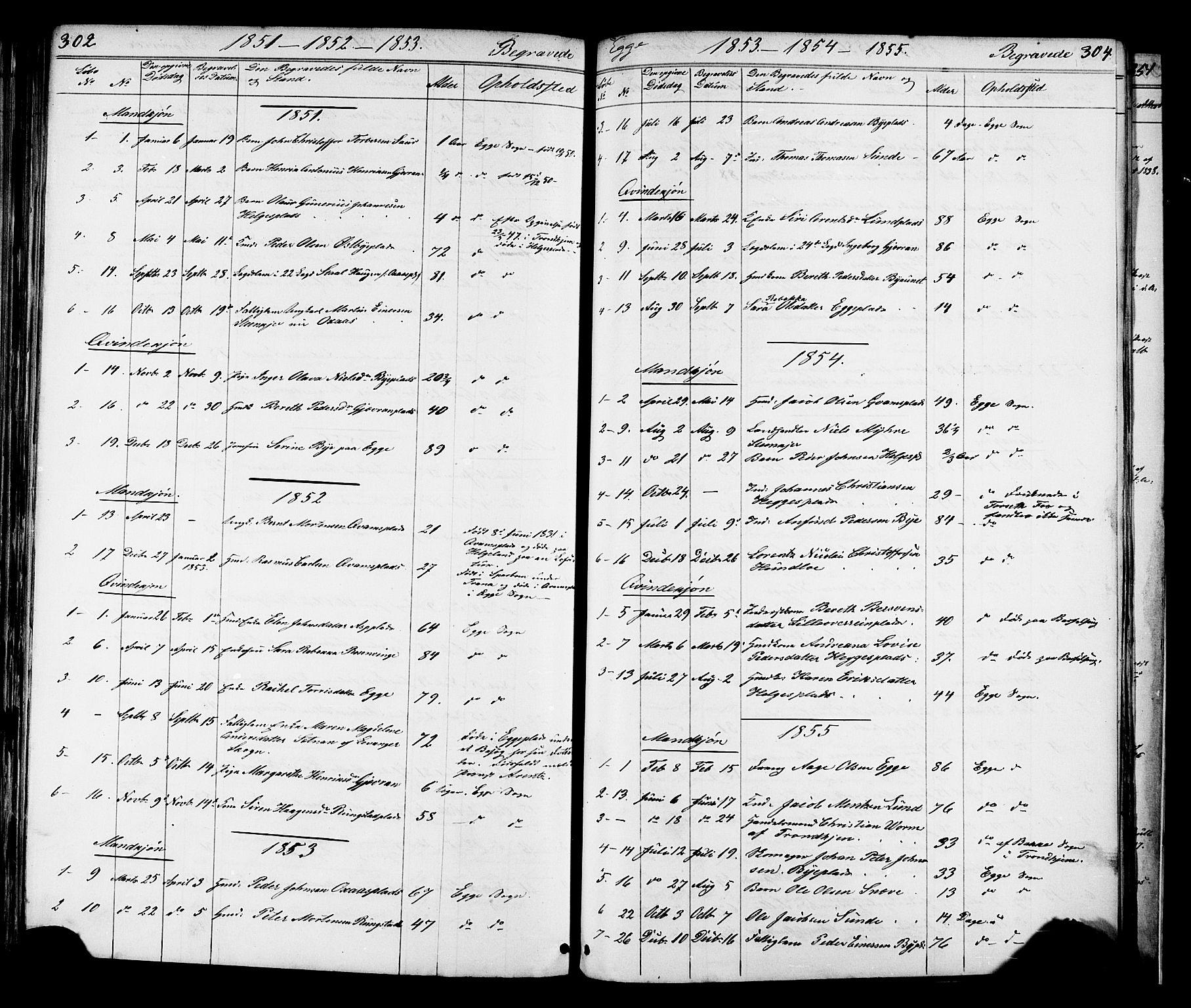 SAT, Ministerialprotokoller, klokkerbøker og fødselsregistre - Nord-Trøndelag, 739/L0367: Ministerialbok nr. 739A01 /3, 1838-1868, s. 302-303
