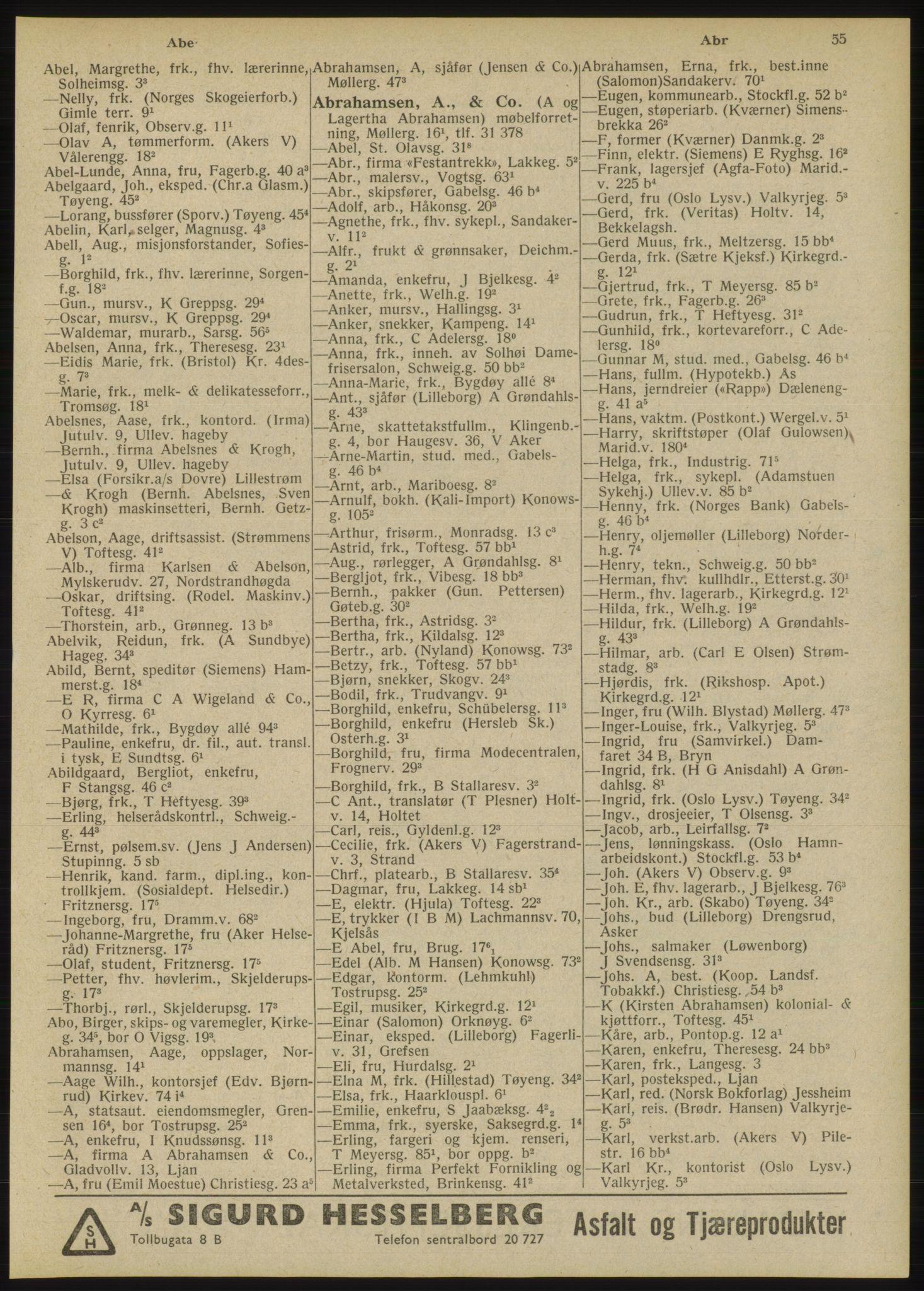 RA, Oslo adressebok (publikasjon)*, 1946, s. 55