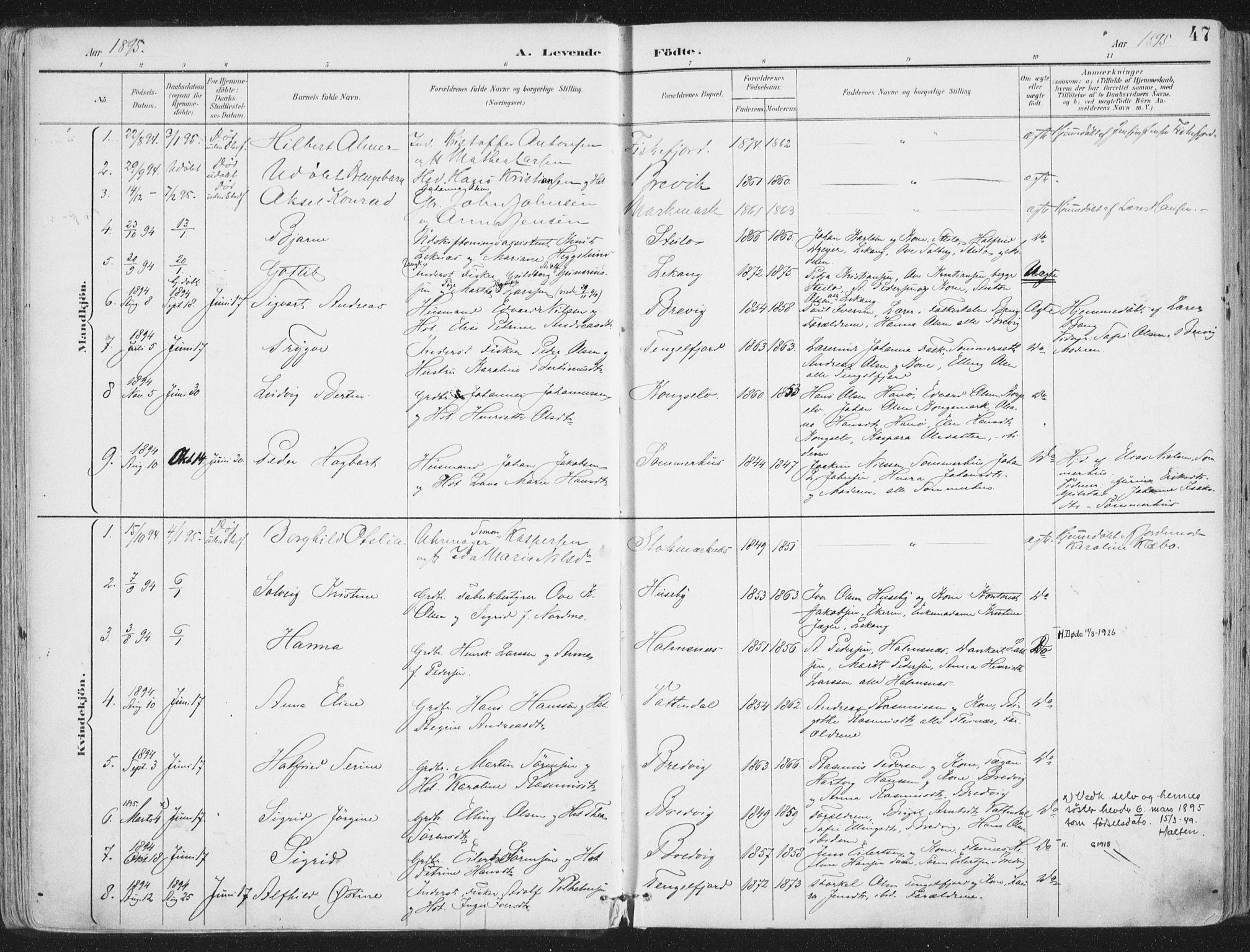 SAT, Ministerialprotokoller, klokkerbøker og fødselsregistre - Nordland, 888/L1246: Ministerialbok nr. 888A12, 1891-1903, s. 47