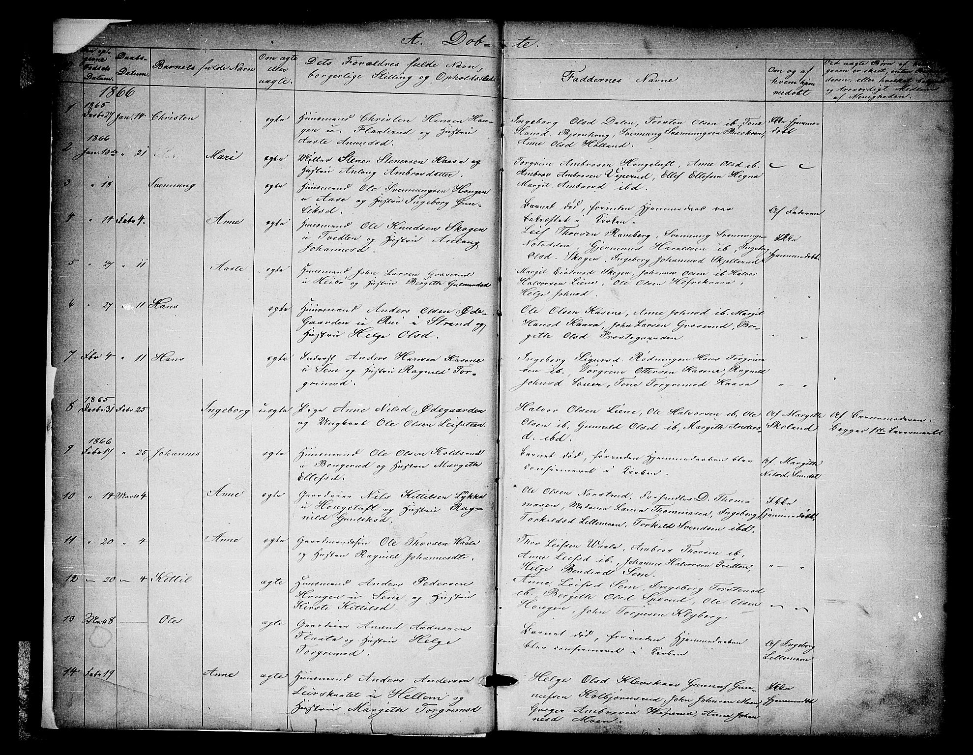 SAKO, Heddal kirkebøker, G/Ga/L0001: Klokkerbok nr. I 1, 1866-1878, s. 2-3