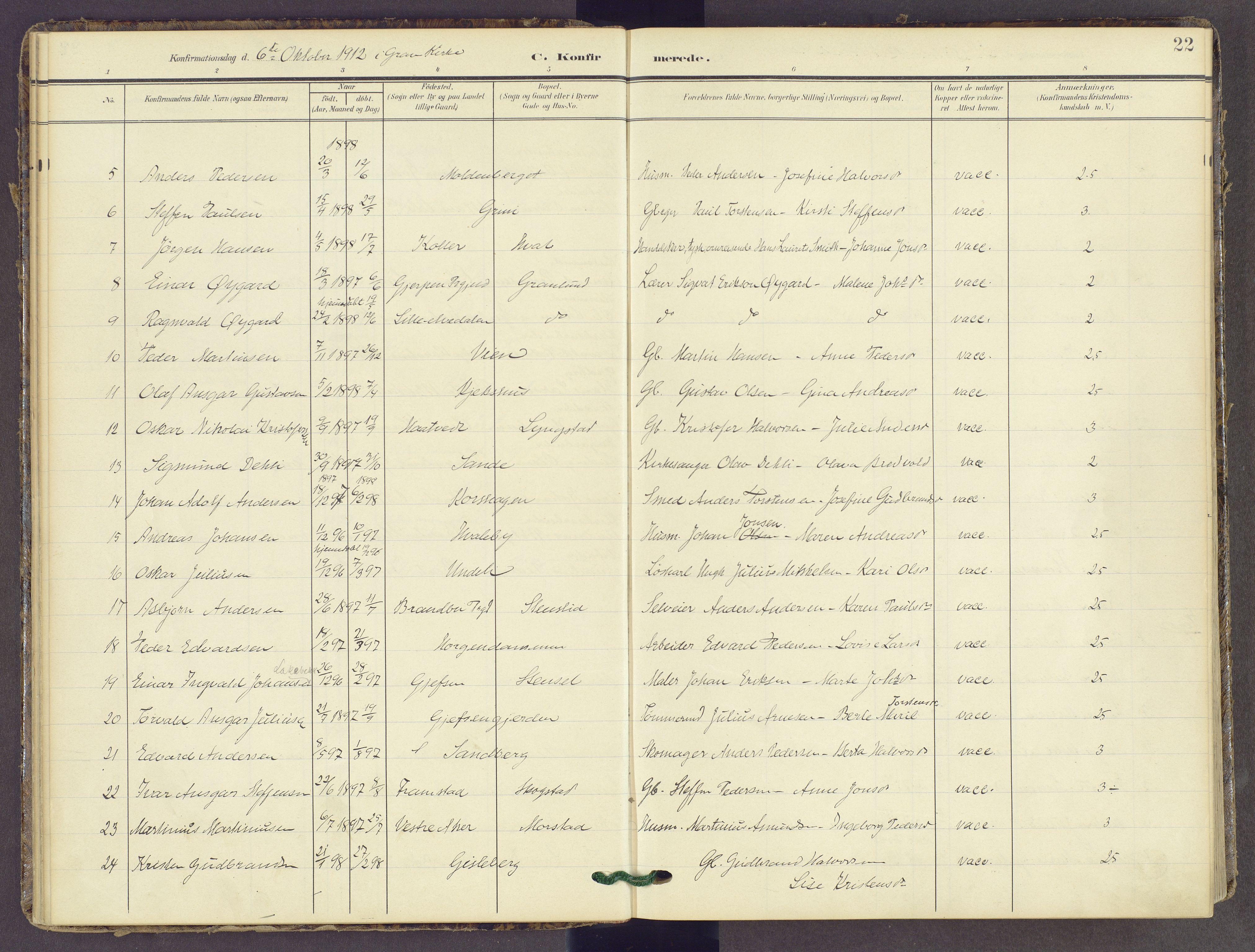 SAH, Gran prestekontor, Ministerialbok nr. 22, 1908-1918, s. 22