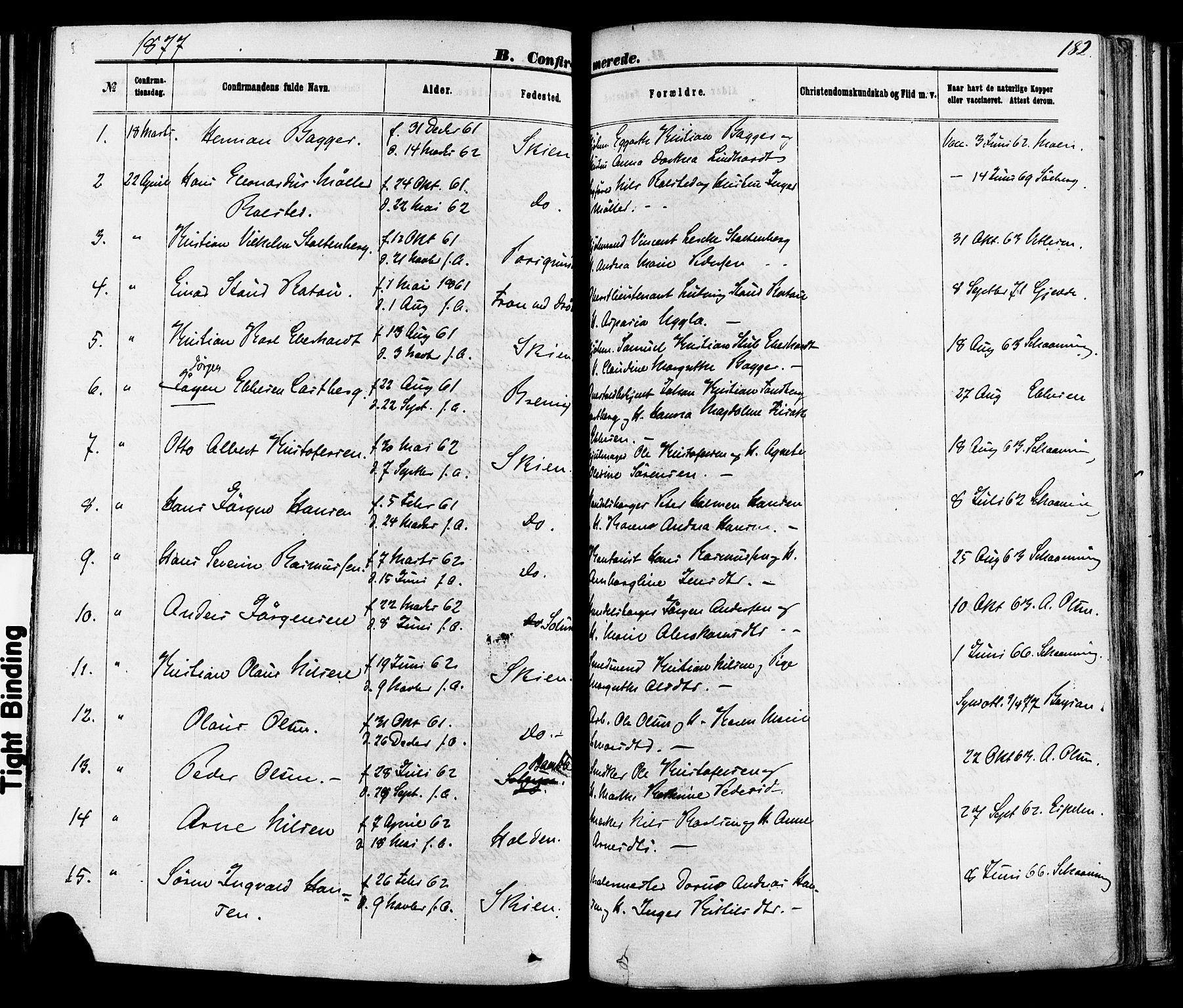 SAKO, Skien kirkebøker, F/Fa/L0008: Ministerialbok nr. 8, 1866-1877, s. 182