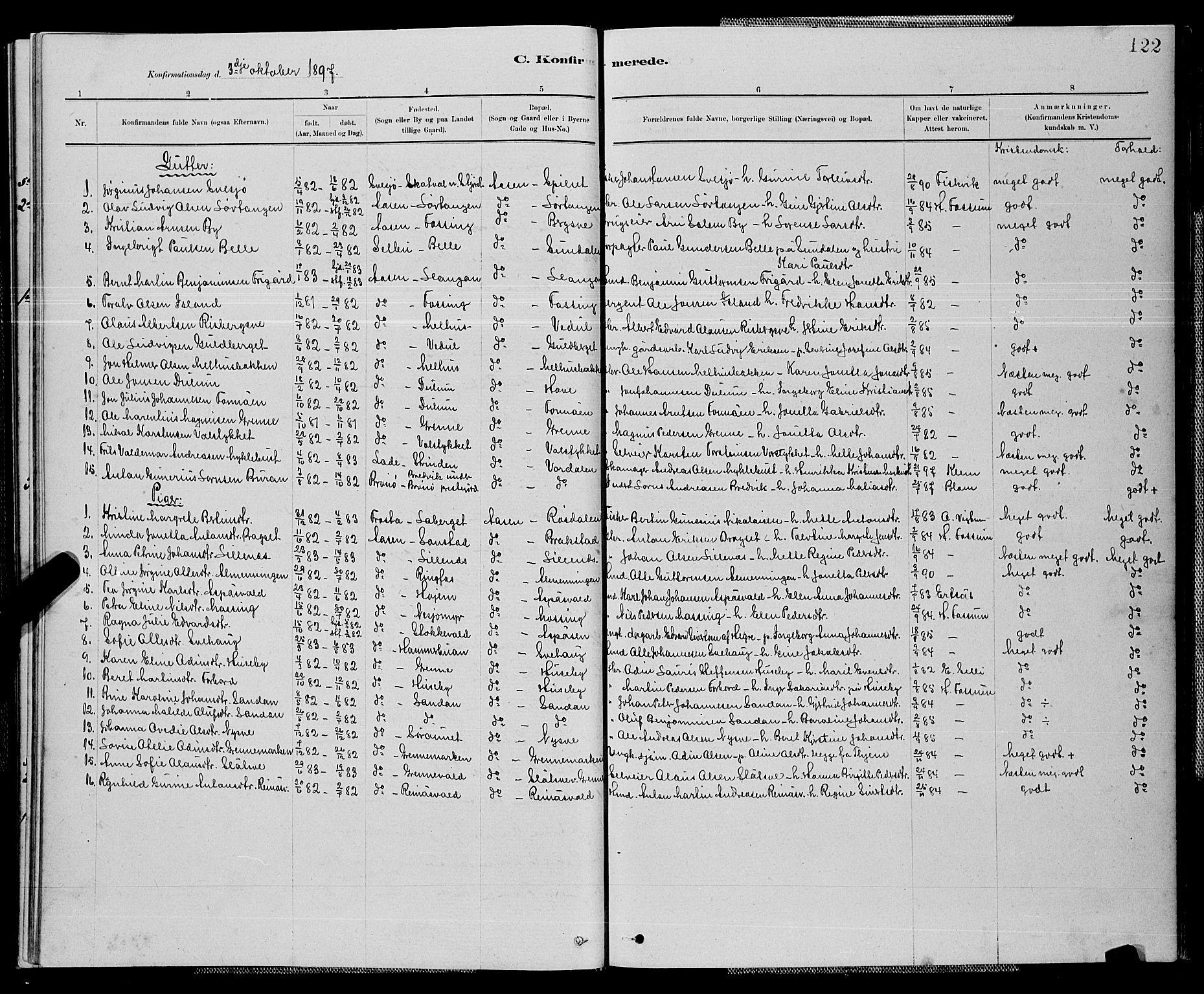 SAT, Ministerialprotokoller, klokkerbøker og fødselsregistre - Nord-Trøndelag, 714/L0134: Klokkerbok nr. 714C03, 1878-1898, s. 122