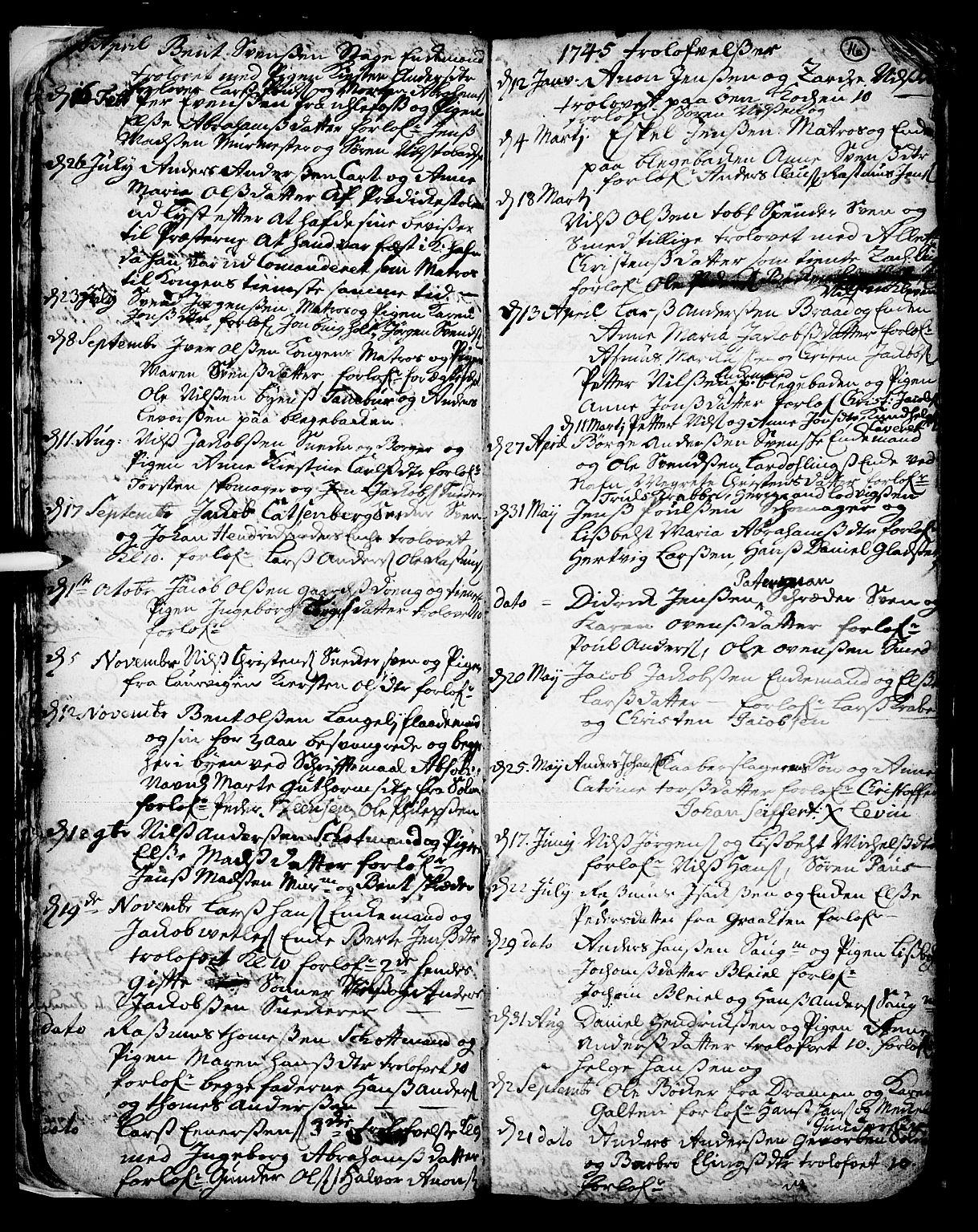 SAKO, Skien kirkebøker, F/Fa/L0002: Ministerialbok nr. 2, 1716-1757, s. 16