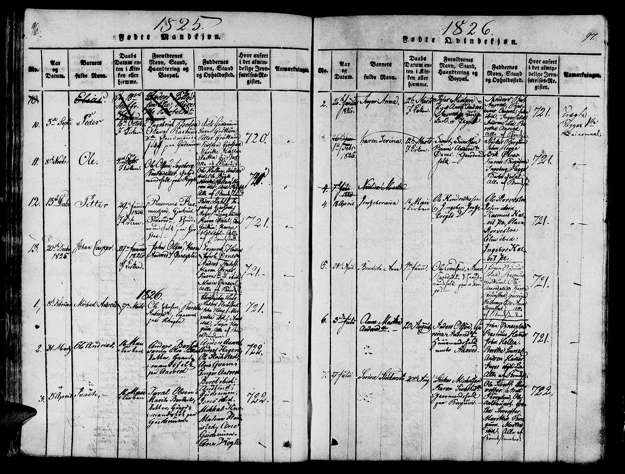 SAT, Ministerialprotokoller, klokkerbøker og fødselsregistre - Nord-Trøndelag, 746/L0441: Ministerialbok nr. 746A03 /2, 1816-1827, s. 96-97