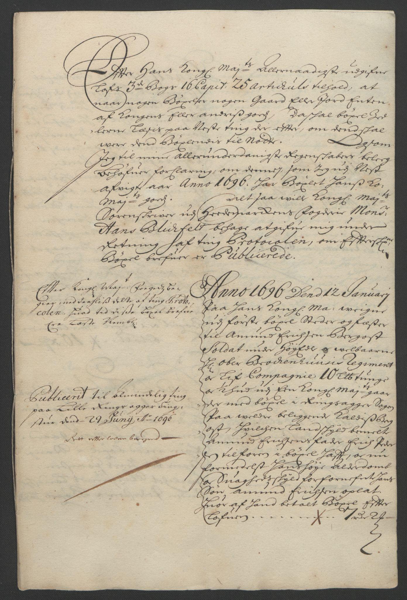 RA, Rentekammeret inntil 1814, Reviderte regnskaper, Fogderegnskap, R16/L1036: Fogderegnskap Hedmark, 1695-1696, s. 321