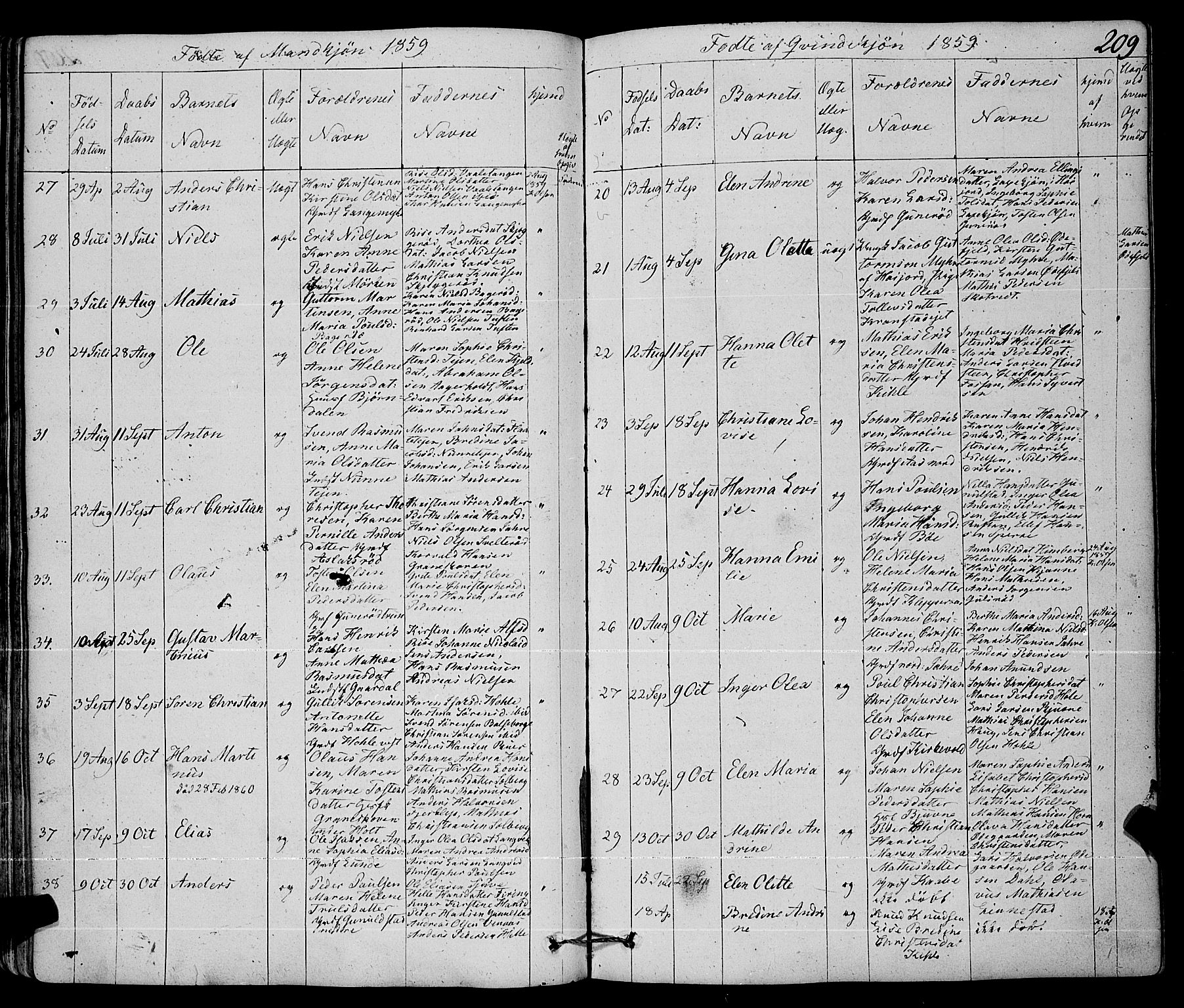 SAKO, Ramnes kirkebøker, F/Fa/L0005: Ministerialbok nr. I 5, 1841-1861, s. 208-209