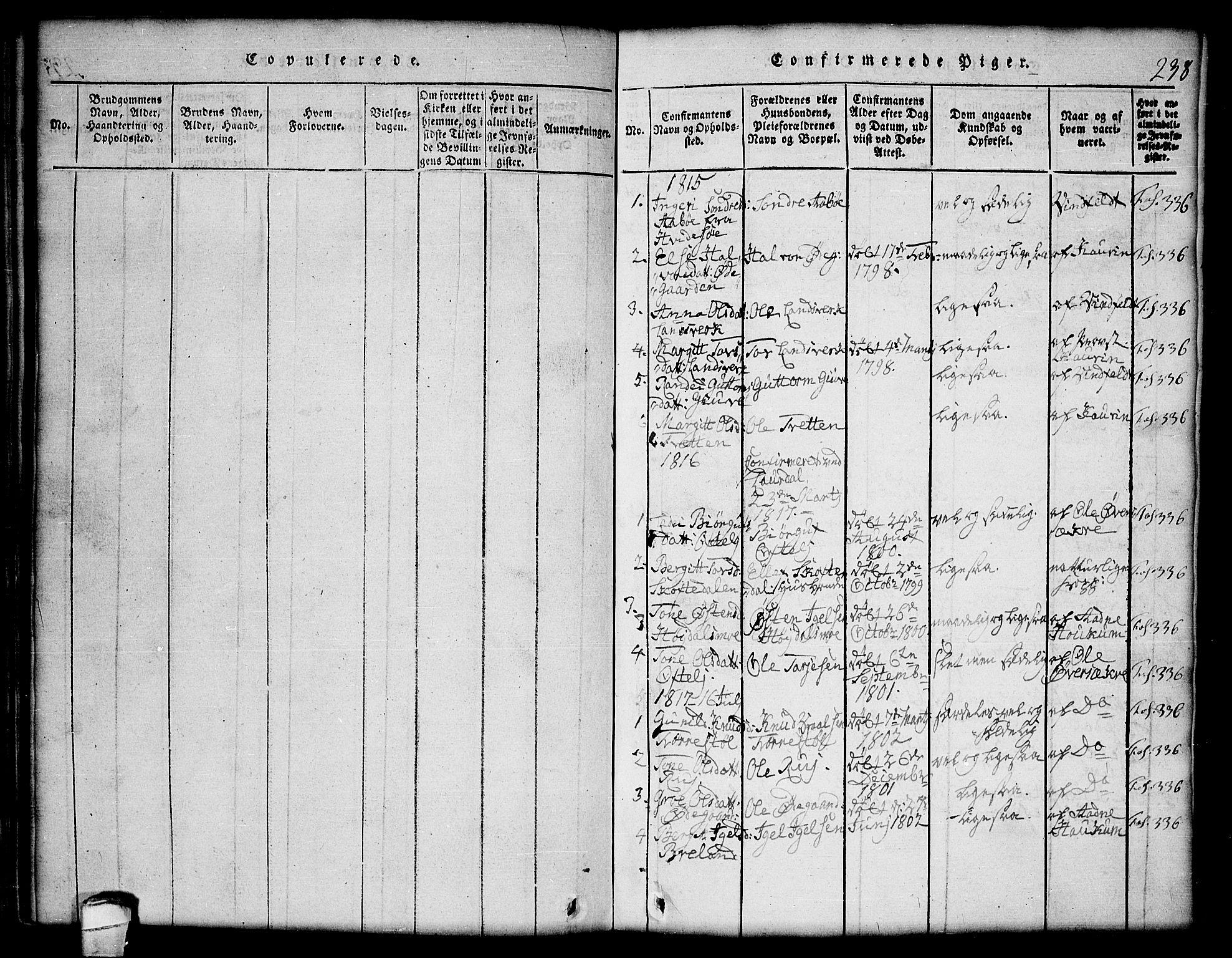 SAKO, Lårdal kirkebøker, G/Gc/L0001: Klokkerbok nr. III 1, 1815-1854, s. 238