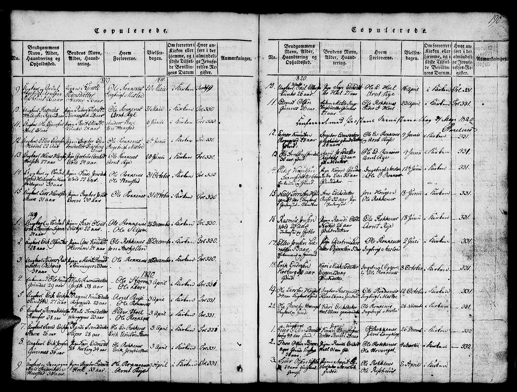 SAT, Ministerialprotokoller, klokkerbøker og fødselsregistre - Sør-Trøndelag, 674/L0874: Klokkerbok nr. 674C01, 1816-1860, s. 190