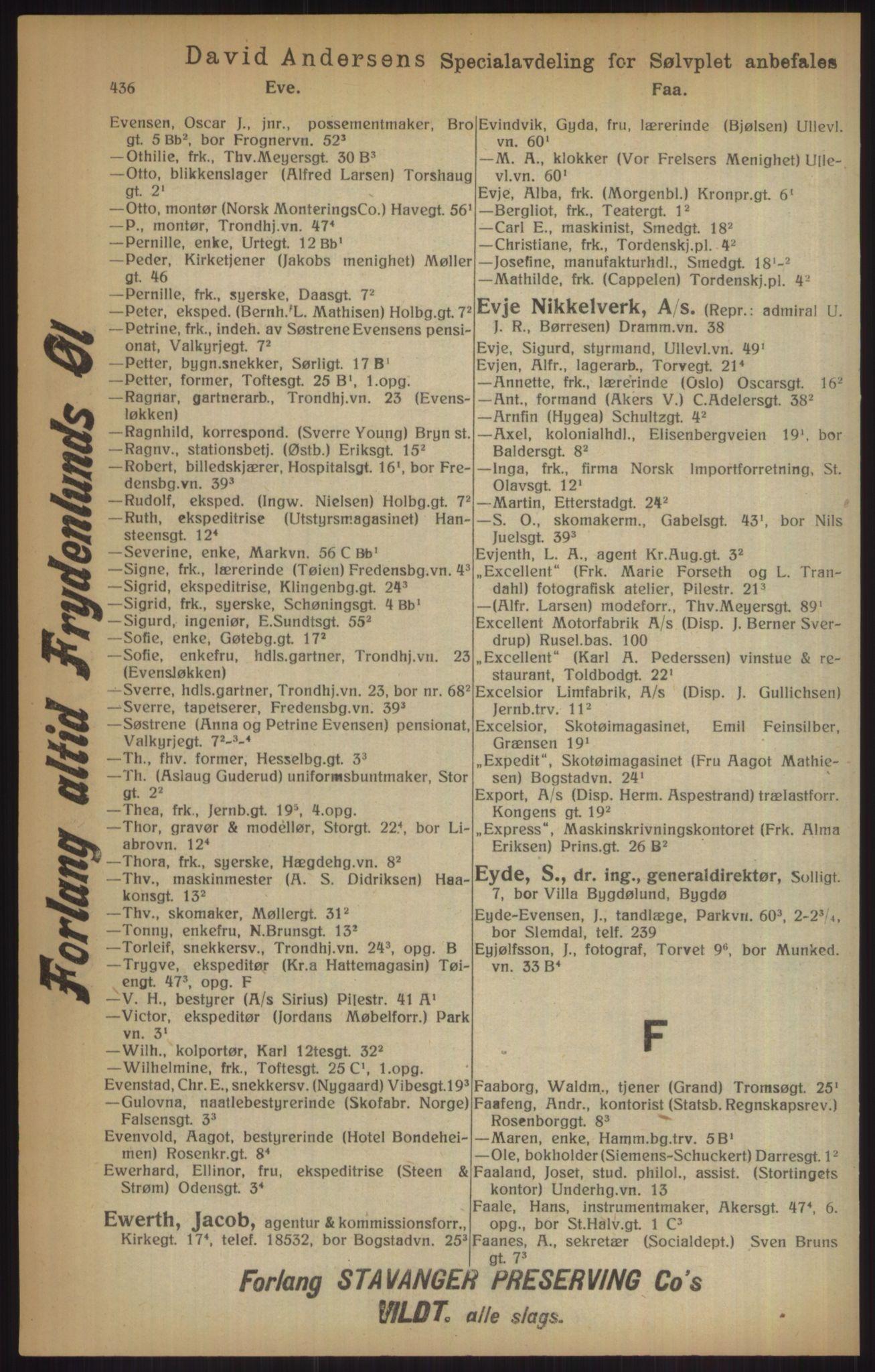 RA, Kristiania adressebok (publikasjon)*, 1915, s. 436