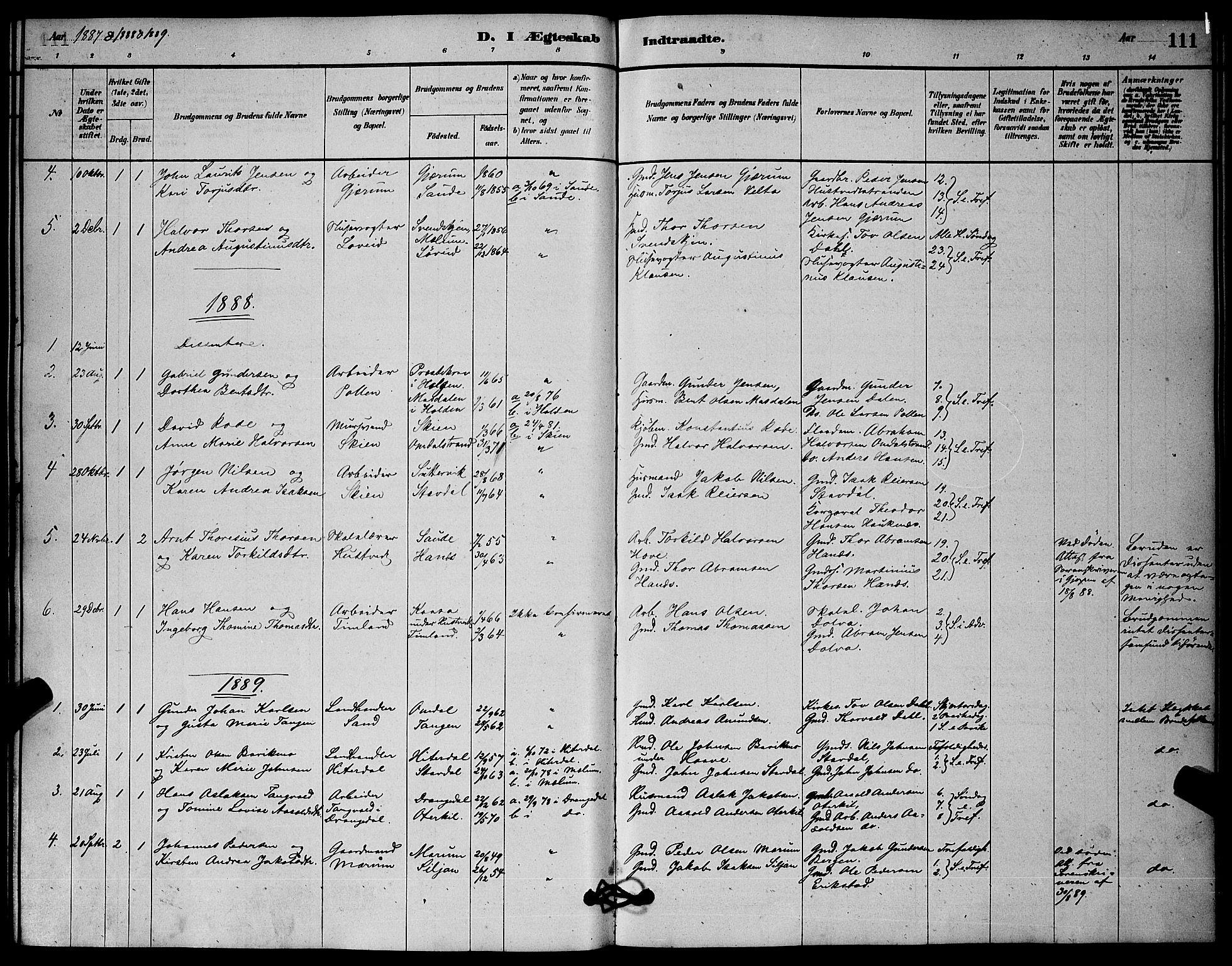 SAKO, Solum kirkebøker, G/Gb/L0003: Klokkerbok nr. II 3, 1880-1898, s. 111