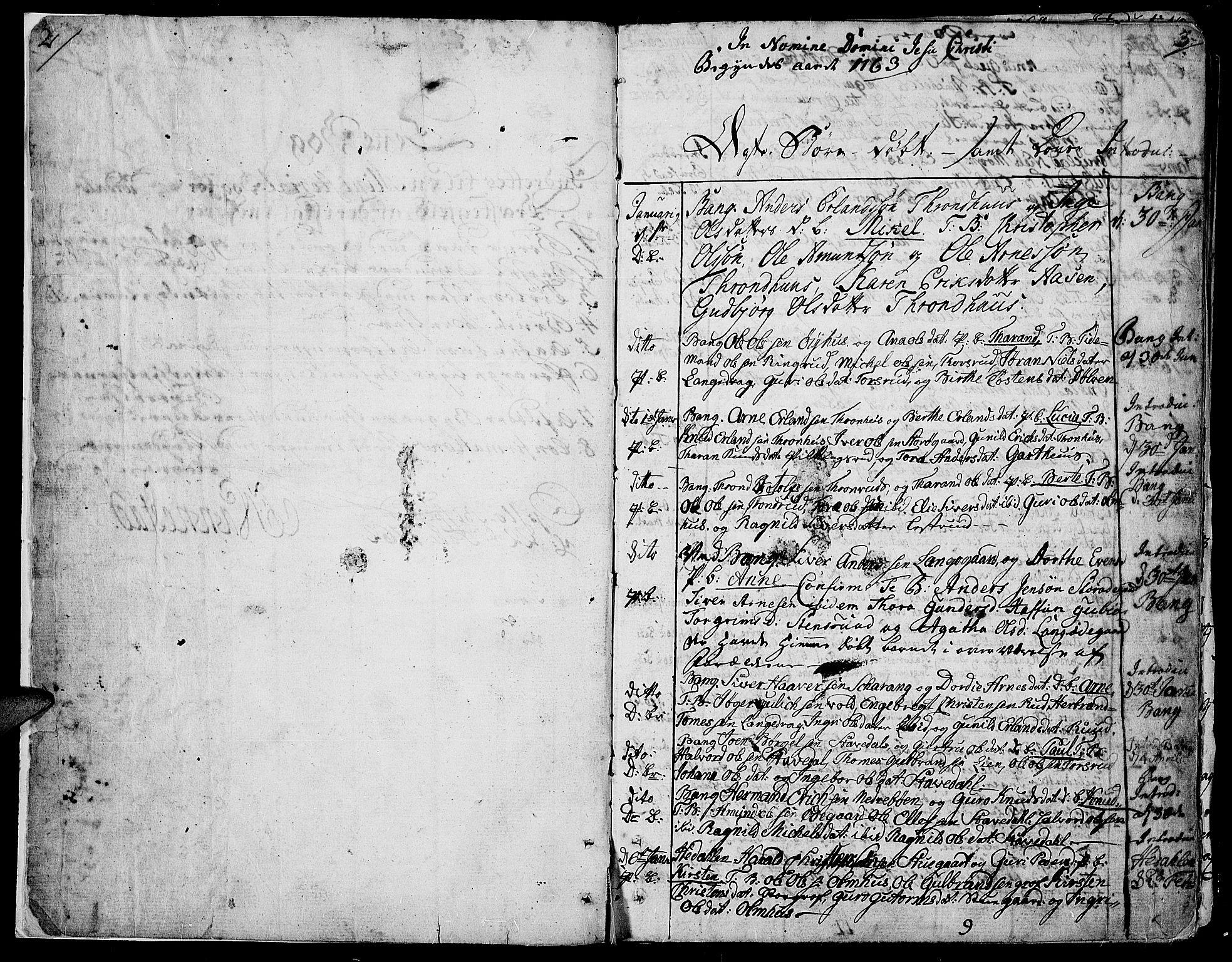 SAH, Aurdal prestekontor, Ministerialbok nr. 5, 1763-1781, s. 2-3