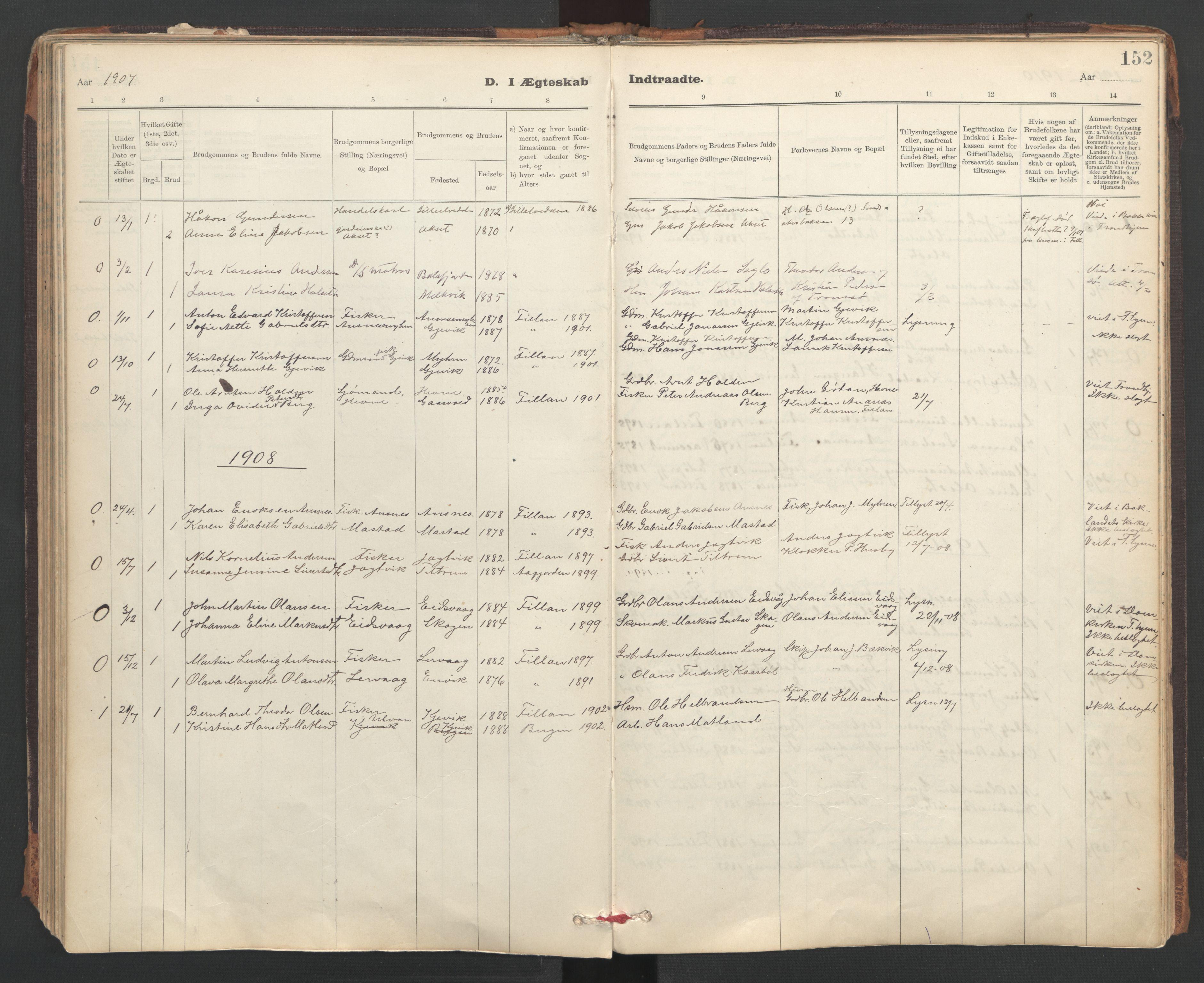 SAT, Ministerialprotokoller, klokkerbøker og fødselsregistre - Sør-Trøndelag, 637/L0559: Ministerialbok nr. 637A02, 1899-1923, s. 152