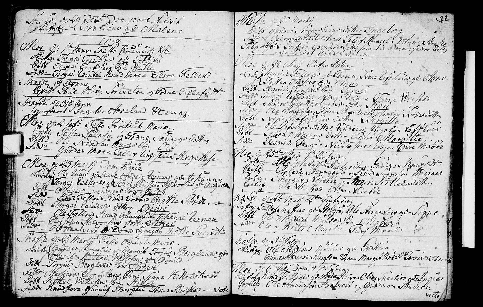 SAKO, Mo kirkebøker, F/Fa/L0001: Ministerialbok nr. I 1, 1724-1748, s. 22