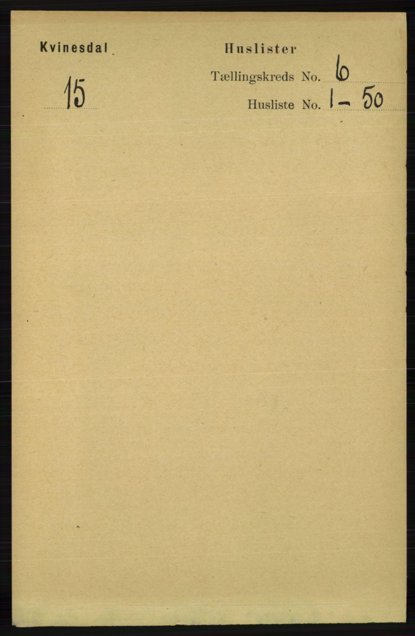 RA, Folketelling 1891 for 1037 Kvinesdal herred, 1891, s. 2049