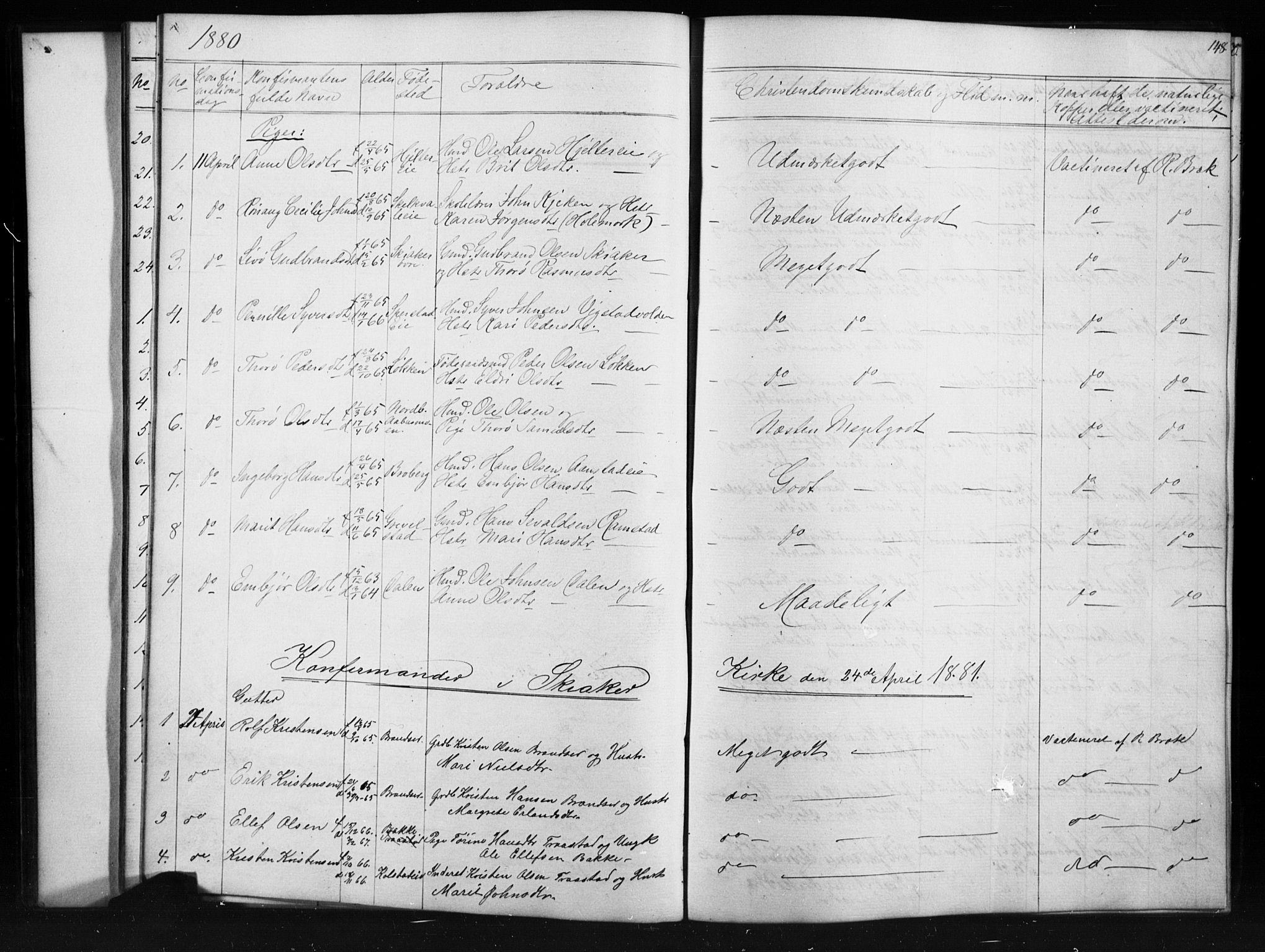 SAH, Skjåk prestekontor, Klokkerbok nr. 1, 1865-1893, s. 148