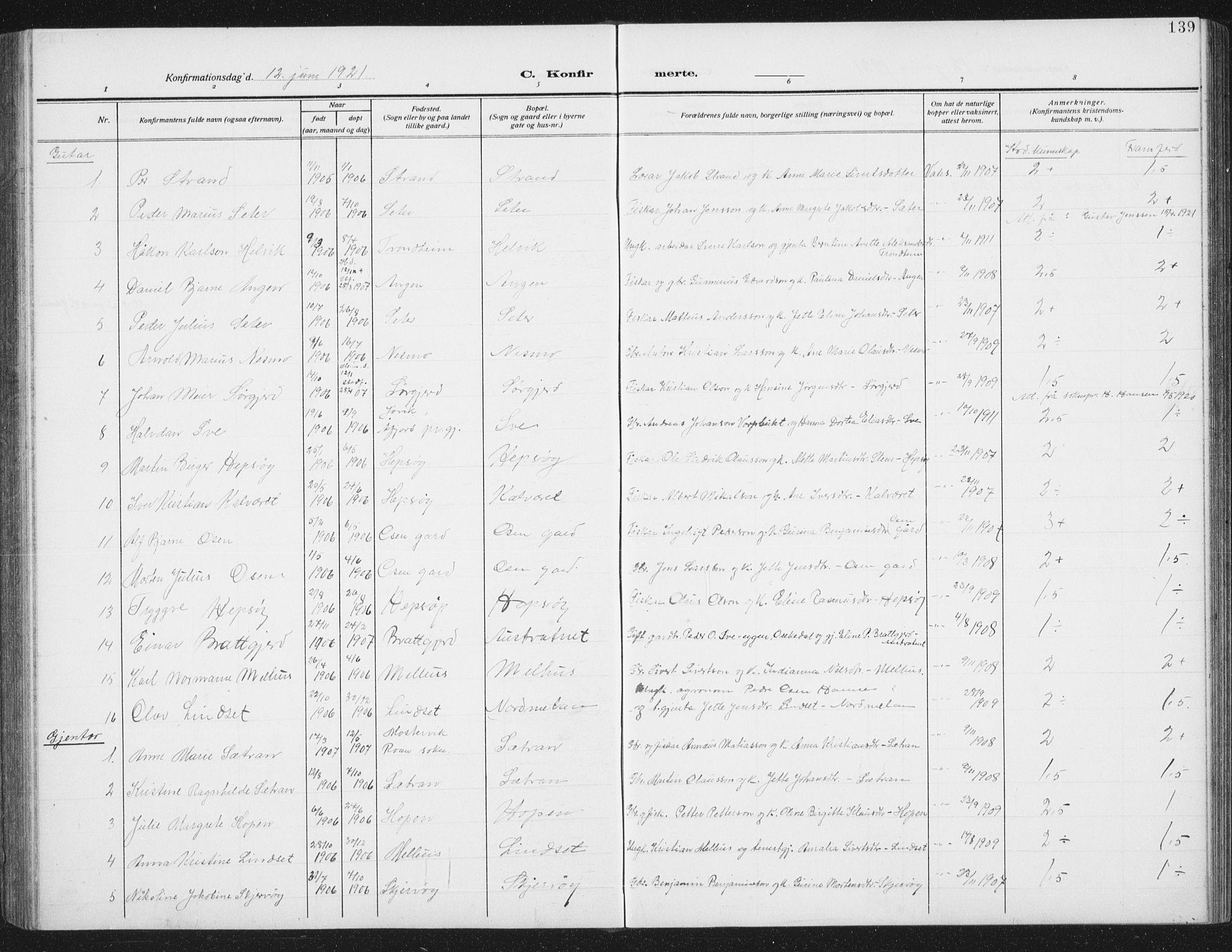 SAT, Ministerialprotokoller, klokkerbøker og fødselsregistre - Sør-Trøndelag, 658/L0727: Klokkerbok nr. 658C03, 1909-1935, s. 139
