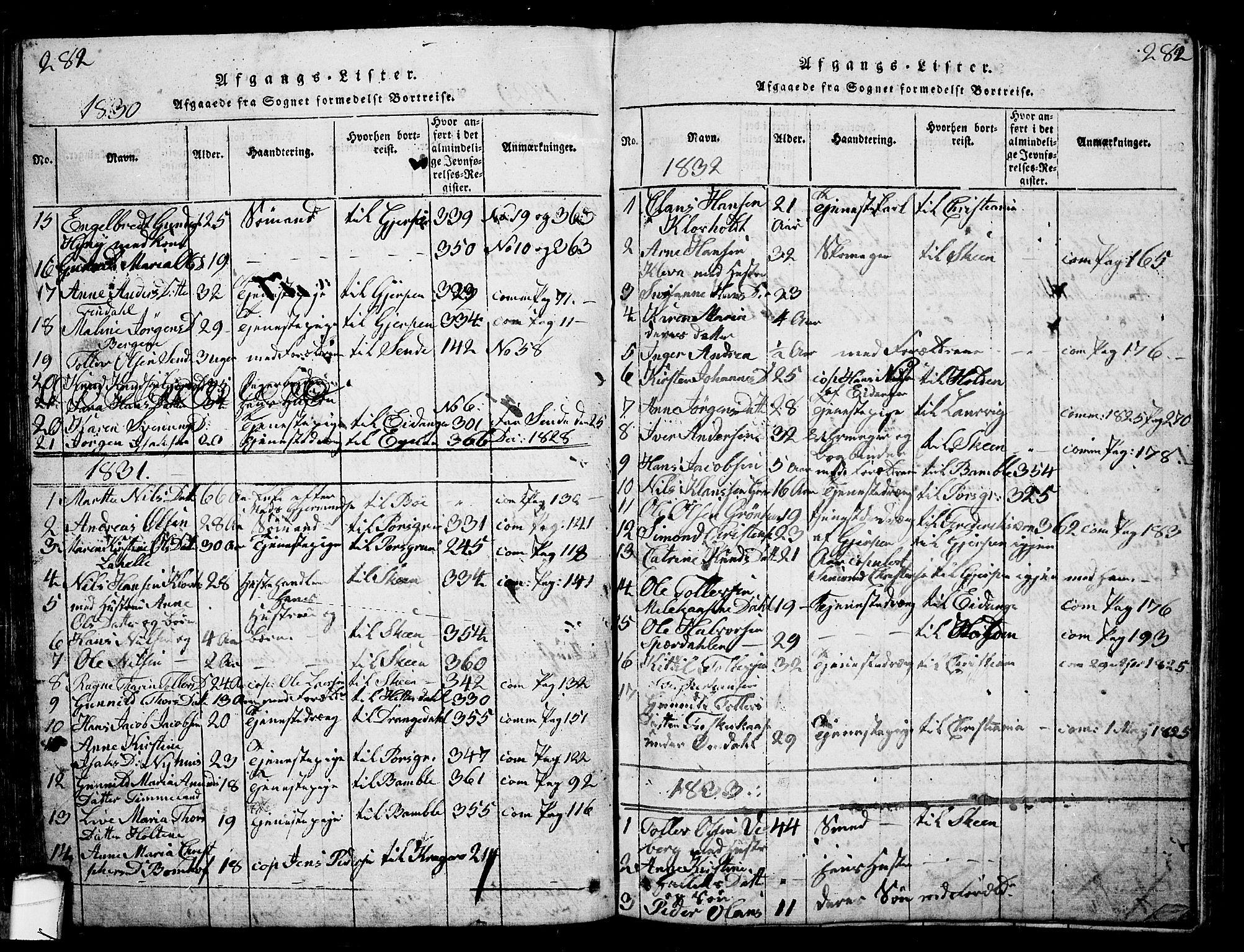 SAKO, Solum kirkebøker, G/Ga/L0001: Klokkerbok nr. I 1, 1814-1833, s. 282