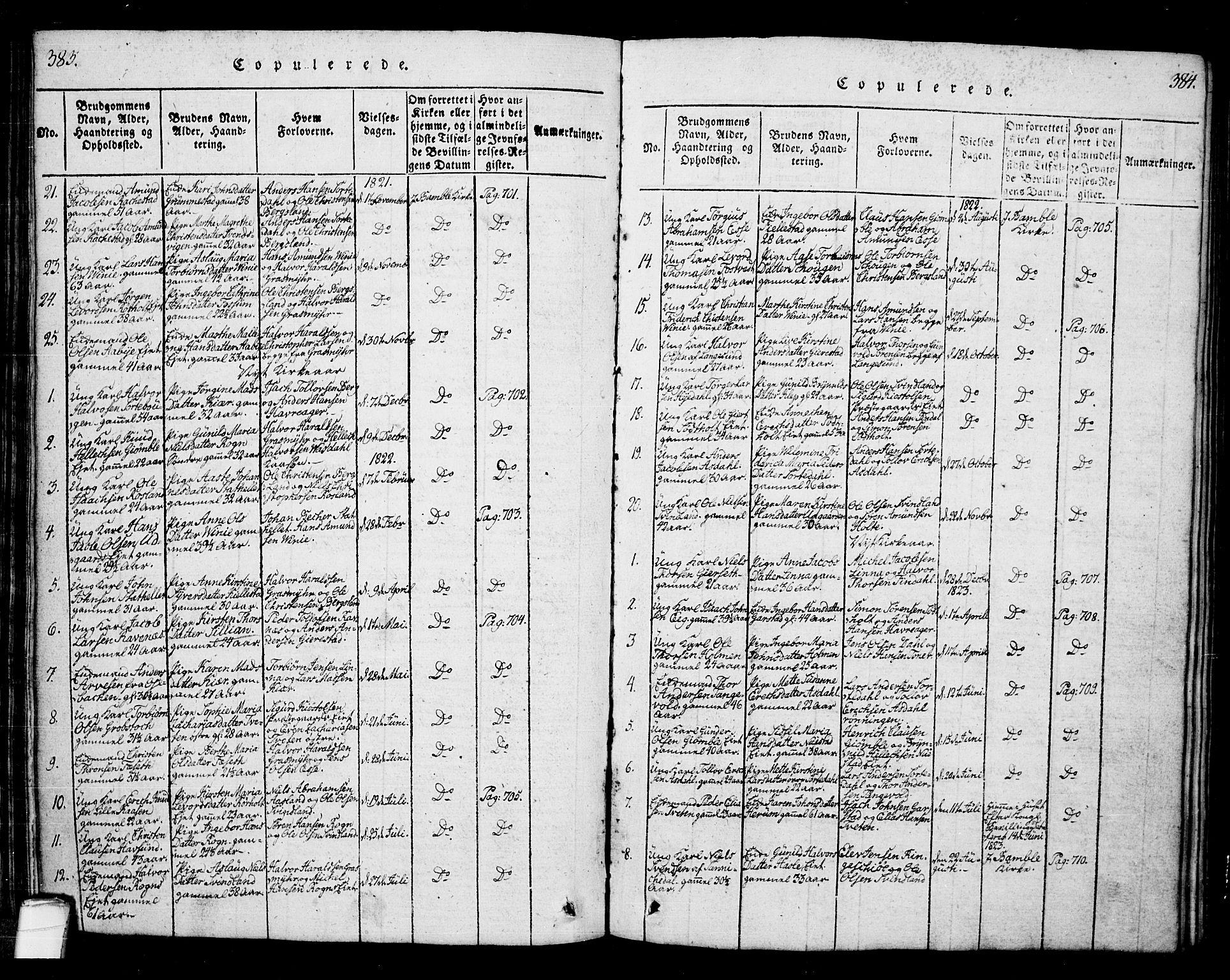 SAKO, Bamble kirkebøker, G/Ga/L0005: Klokkerbok nr. I 5, 1814-1855, s. 383-384