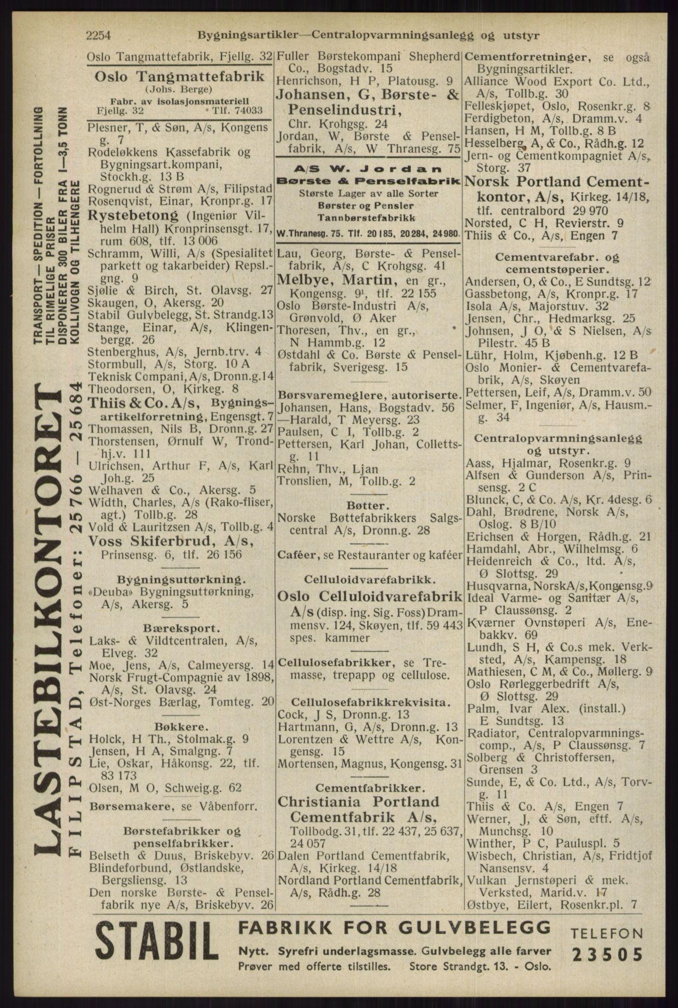 RA, Oslo adressebok (publikasjon)*, 1934, s. 2254