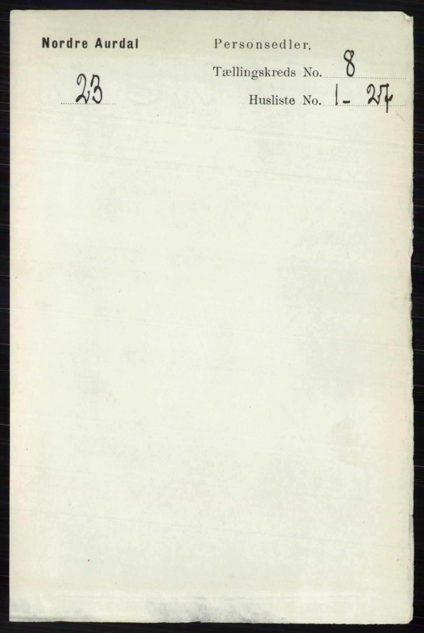 RA, Folketelling 1891 for 0542 Nord-Aurdal herred, 1891, s. 2798
