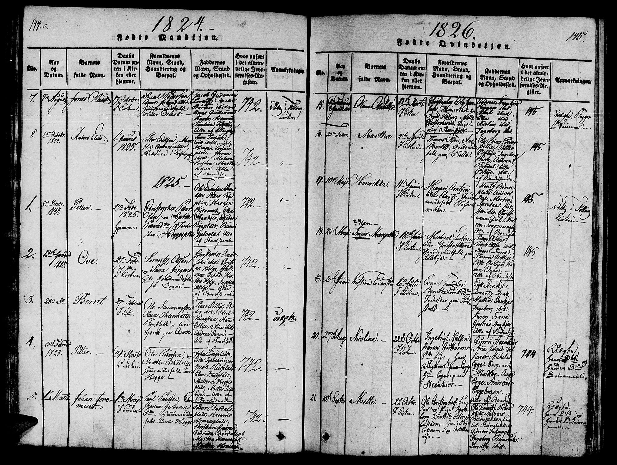 SAT, Ministerialprotokoller, klokkerbøker og fødselsregistre - Nord-Trøndelag, 746/L0441: Ministerialbok nr. 736A03 /3, 1816-1827, s. 144-145