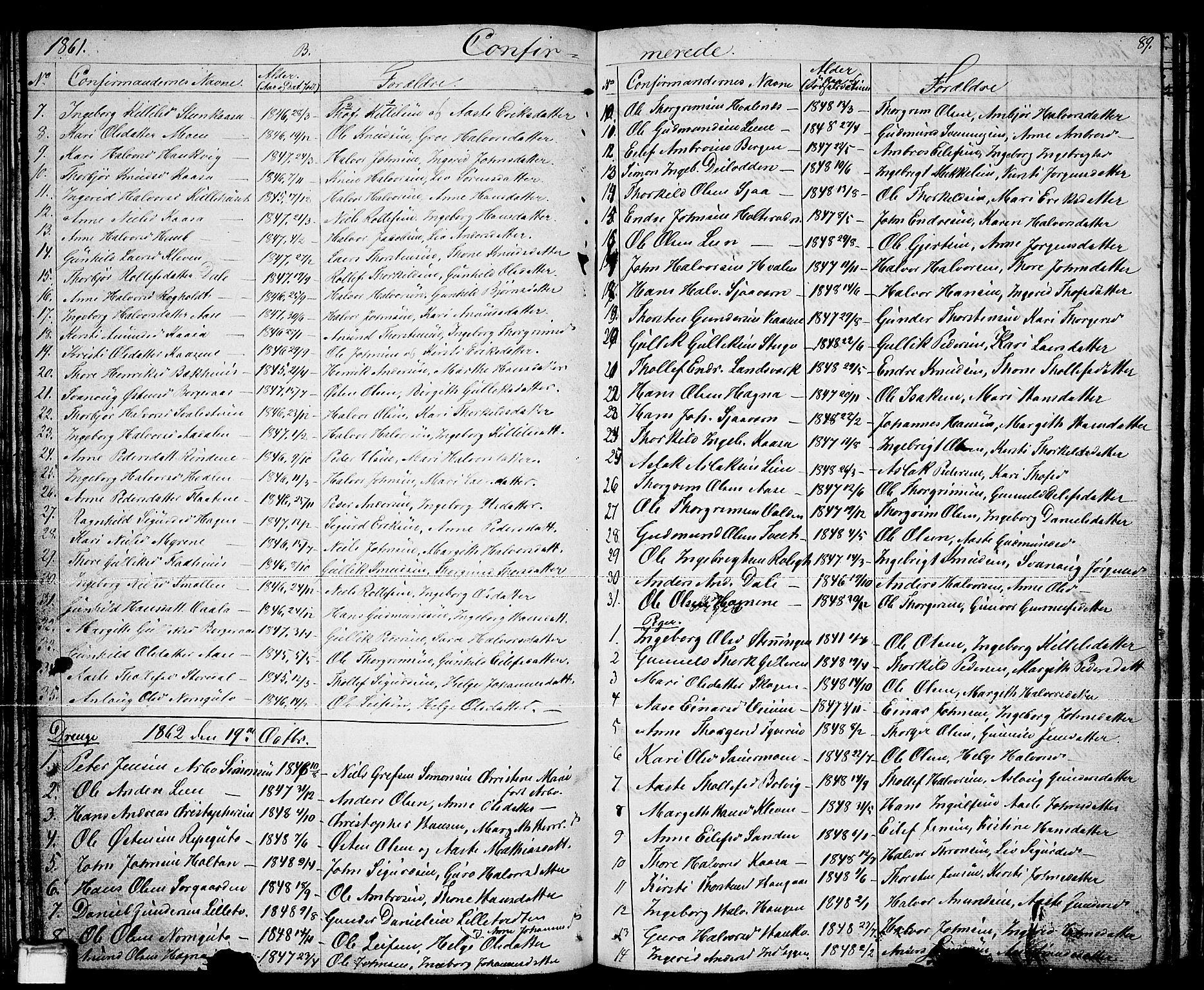 SAKO, Sauherad kirkebøker, G/Ga/L0002: Klokkerbok nr. I 2, 1842-1866, s. 89