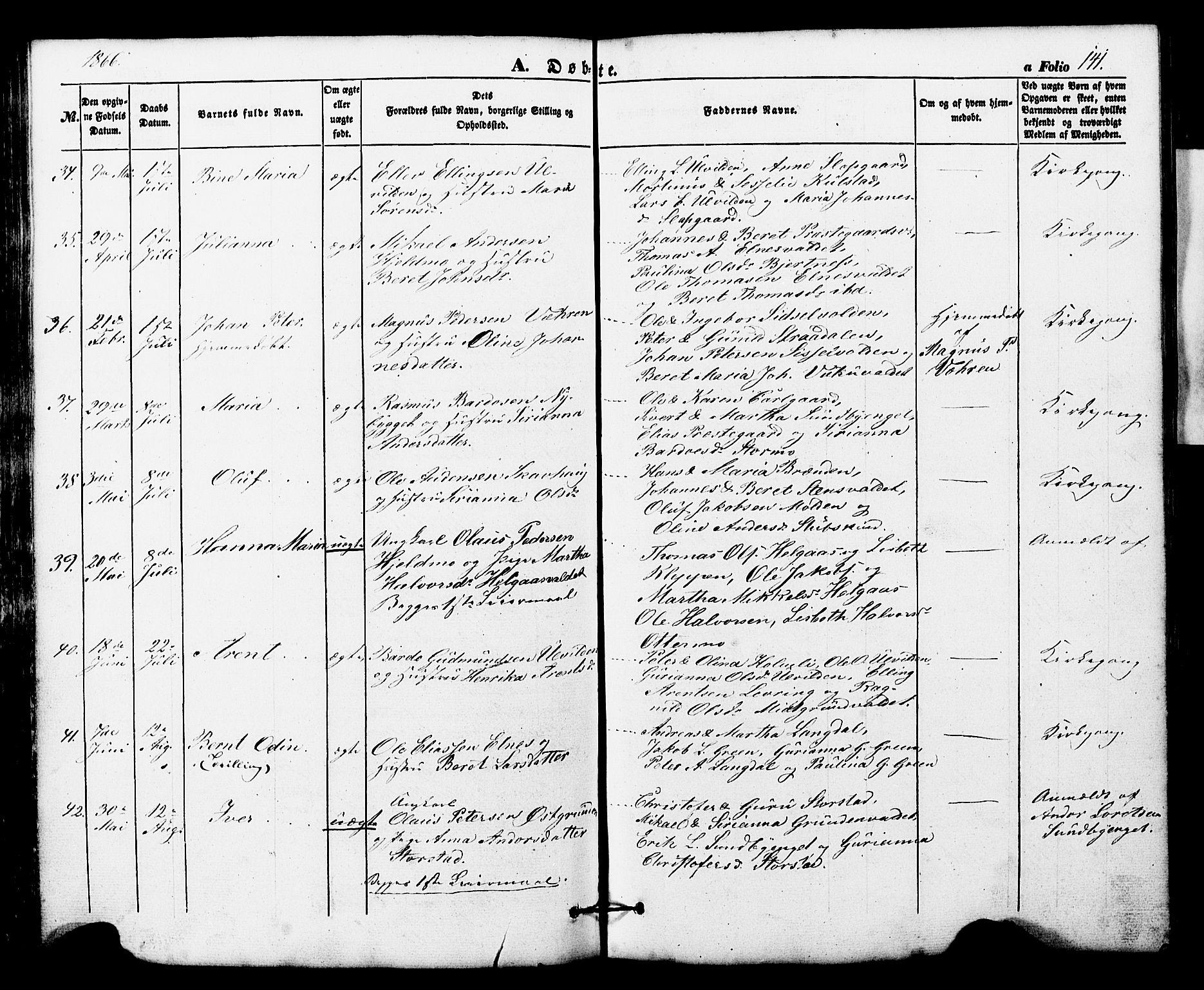 SAT, Ministerialprotokoller, klokkerbøker og fødselsregistre - Nord-Trøndelag, 724/L0268: Klokkerbok nr. 724C04, 1846-1878, s. 141